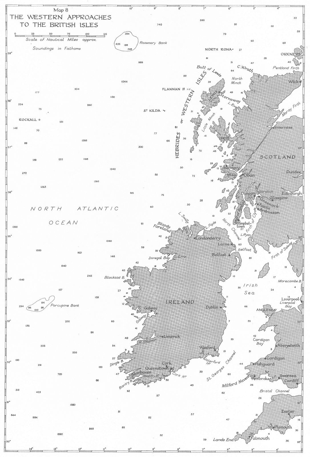 Associate Product UK. 3rd Sept-31st Dec, 1939. western approaches to British Isles 1954 old map