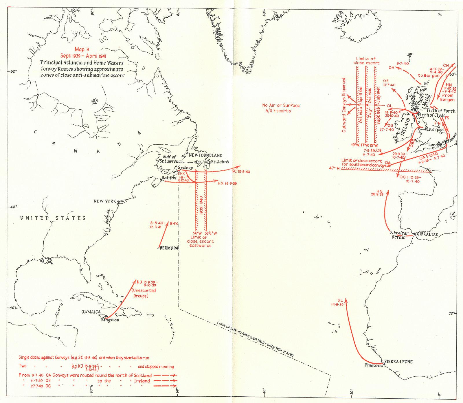 Associate Product ATLANTIC. Main convoy routes. Zones anti-submarine escort 1939-41 1954 old map
