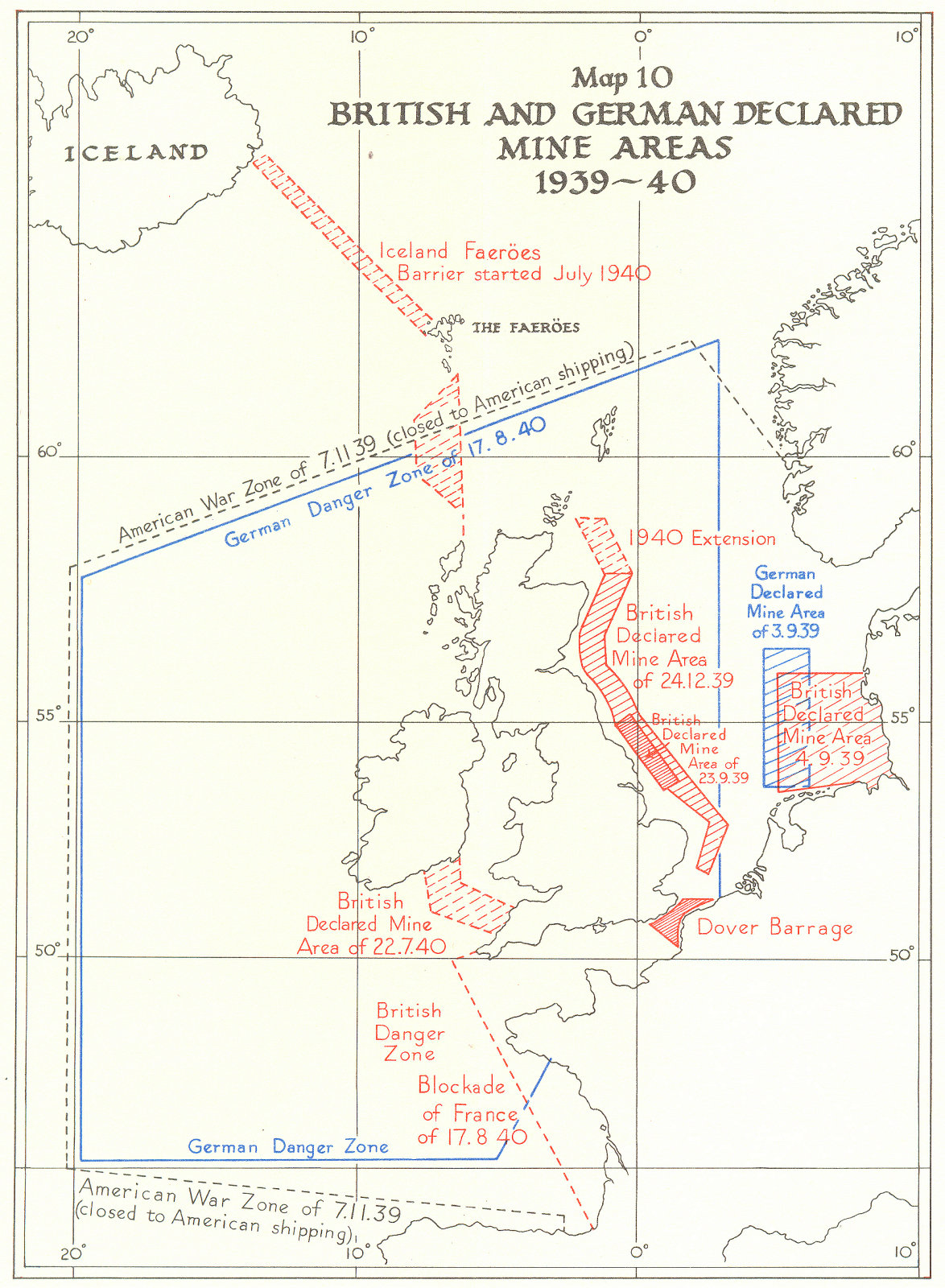Associate Product EUROPE. British and German declared mine areas, 1939-40 1954 old vintage map