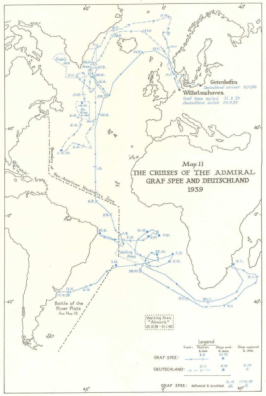 Associate Product ATLANTIC. Ocean Warfare. Cruises Admiral Graf Spee & Deutschland, 1939 1954 map