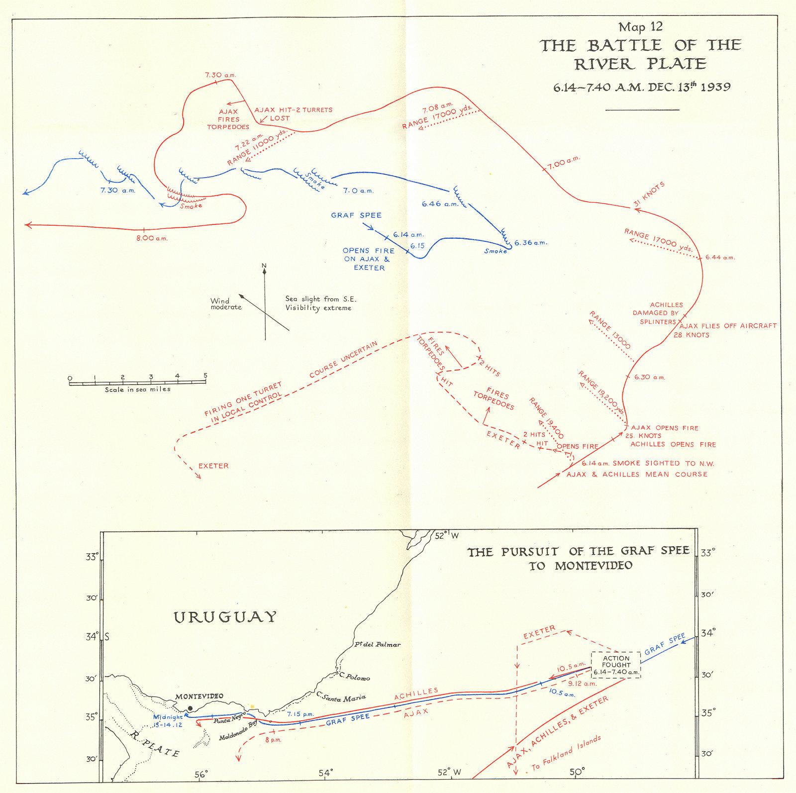 Associate Product BATTLE OF RIVER PLATE(RIO DE LA PLATA). 1939; Graf Spee to Montevideo 1954 map