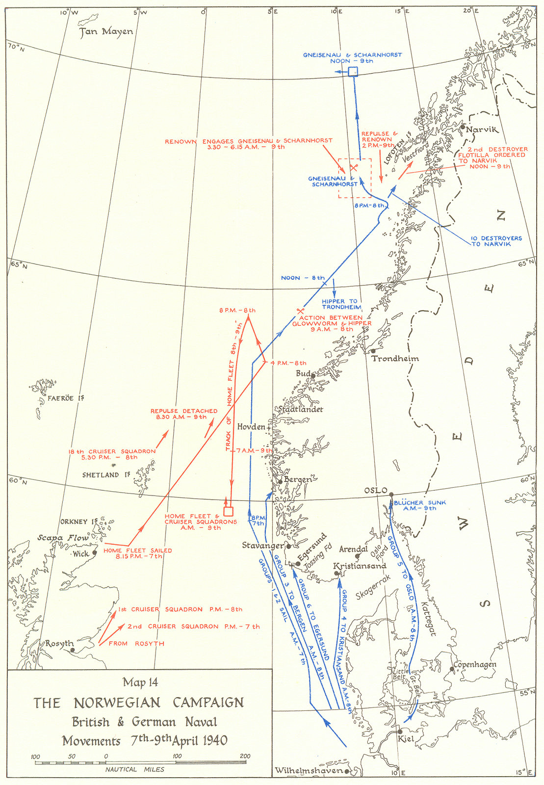 Associate Product NORWEGIAN CAMPAIGN. British & German Naval movements, 7-9 Apr, 1940 1954 map