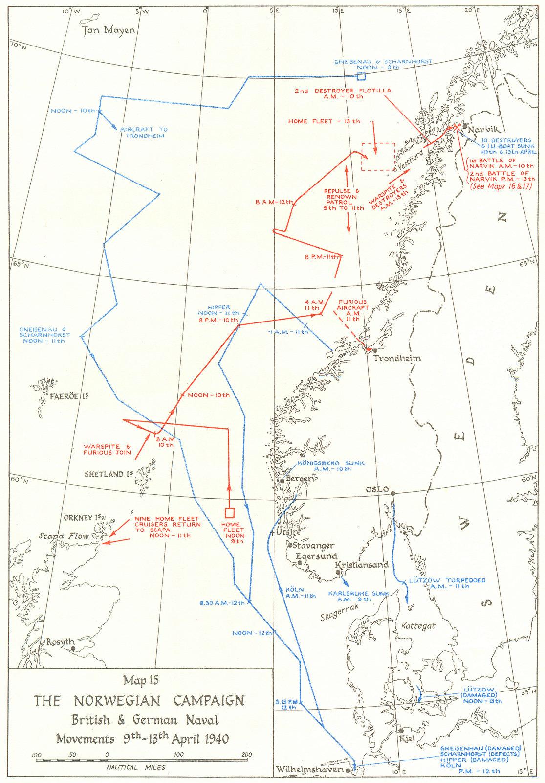 Associate Product NORWEGIAN CAMPAIGN. British & German Naval movements, 9-13th Apr, 1940 1954 map