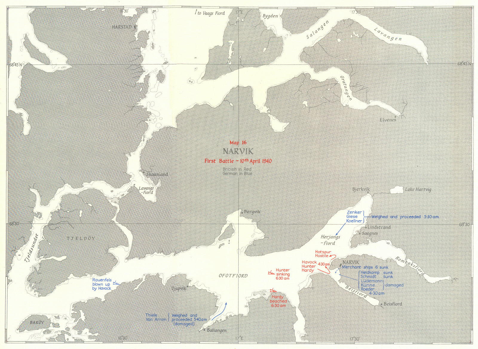 Associate Product THE NORWEGIAN CAMPAIGN. Narvik First Battle 10 April 1940 1954 old vintage map