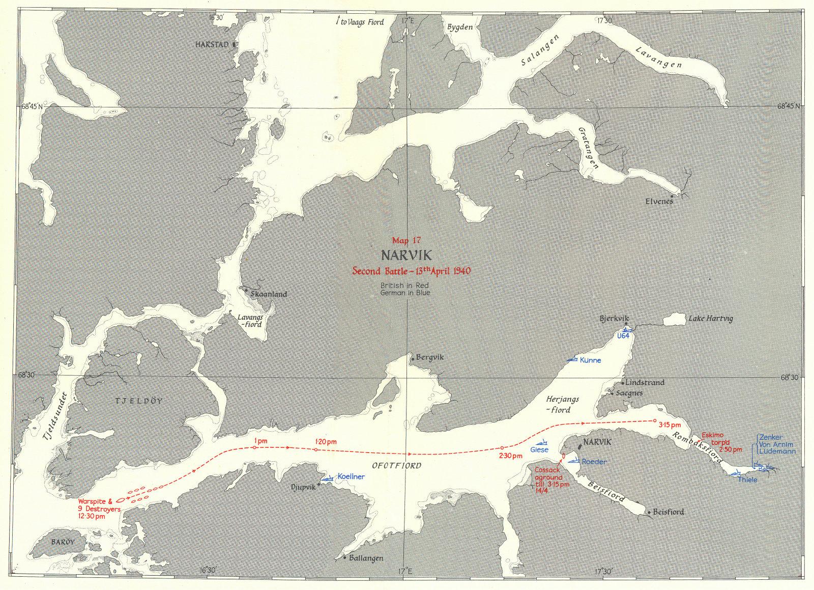 Associate Product NORWEGIAN CAMPAIGN. Narvik Second Battle 13 April 1940 1954 old vintage map