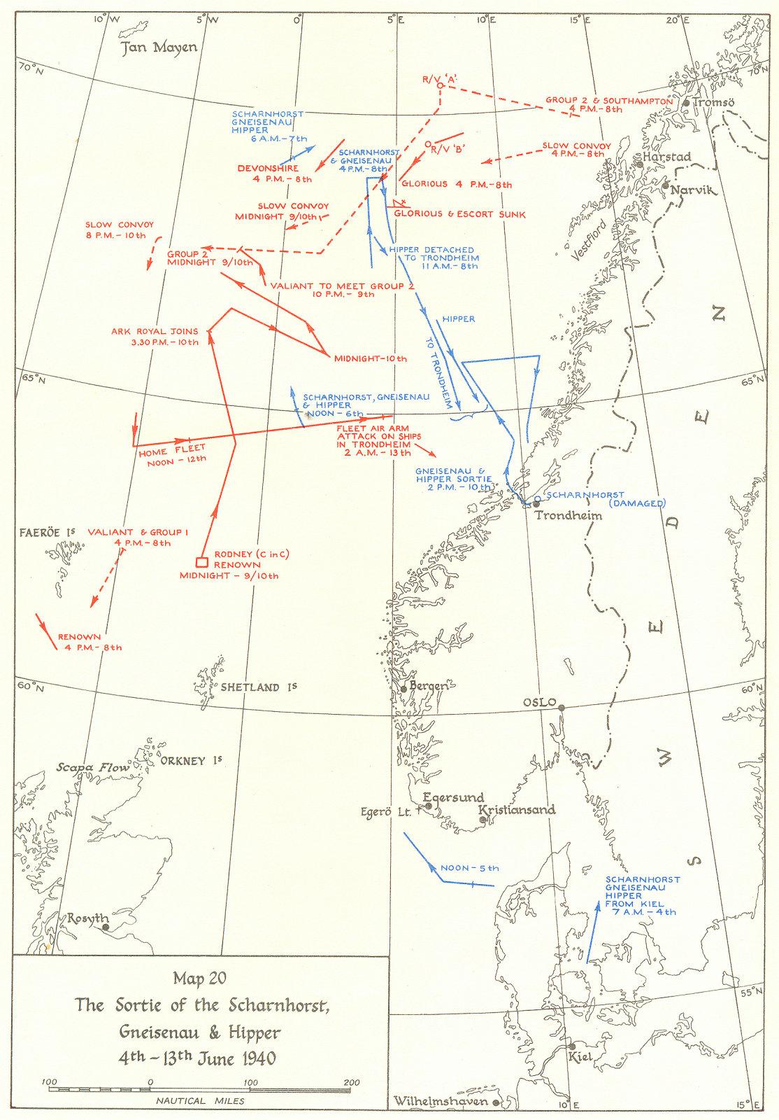 Associate Product NORWEGIAN CAMPAIGN. Scharnhorst, Gneisenau & Hipper, 4-13 June 1940 1954 map