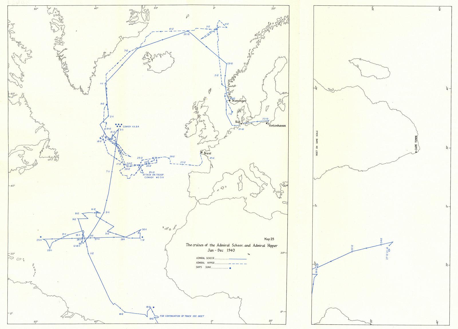 Associate Product ATLANTIC. Ocean Warfare. Cruises of Admiral Scheer & Hipper, 1940 1954 old map