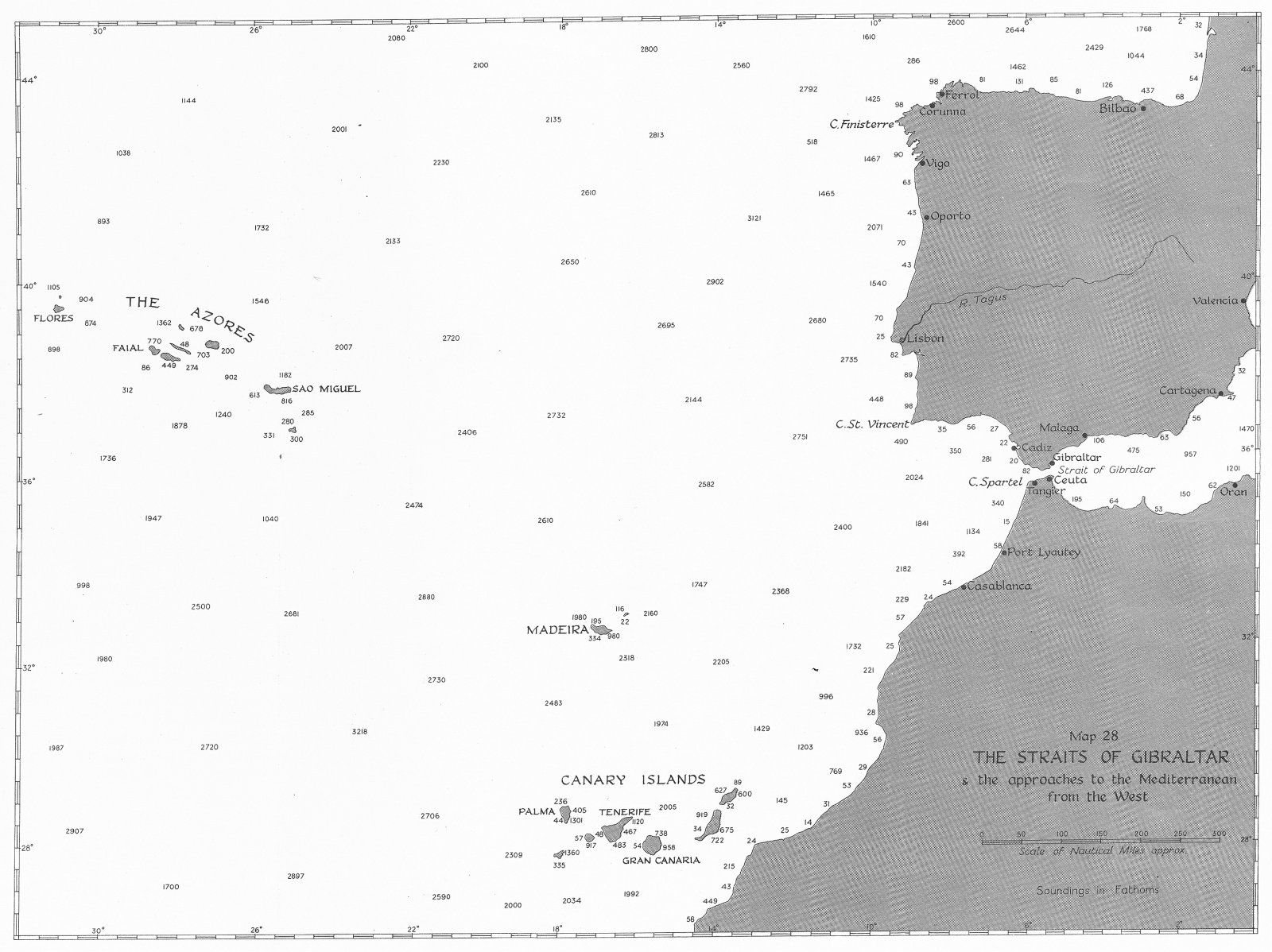 Associate Product GIBRALTAR. Jan-May 1941. Straits of & approaches to Mediterranean west 1954 map