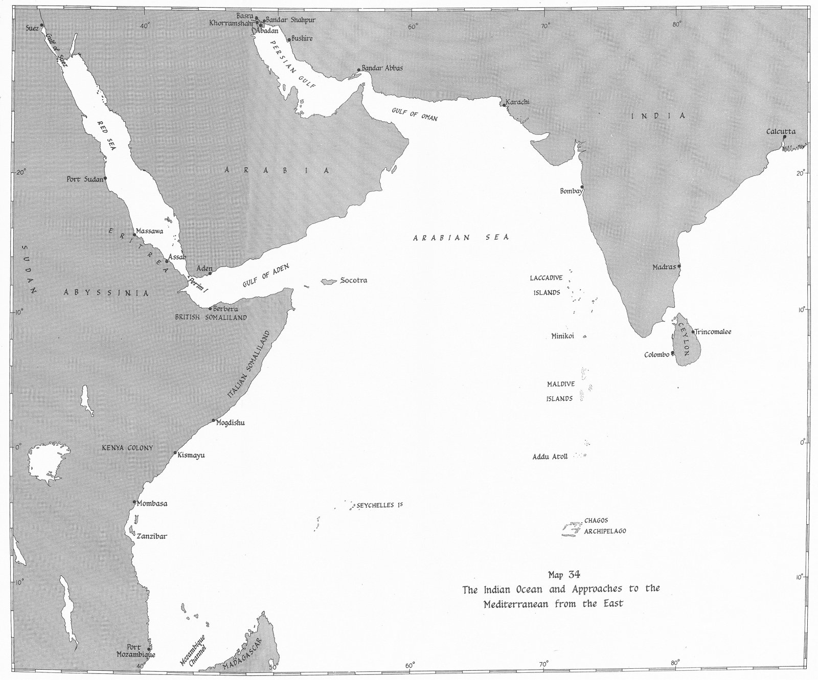 Associate Product INDIAN OCEAN. & Approaches to Mediterranean east. Jan-May 1941 1954 old map