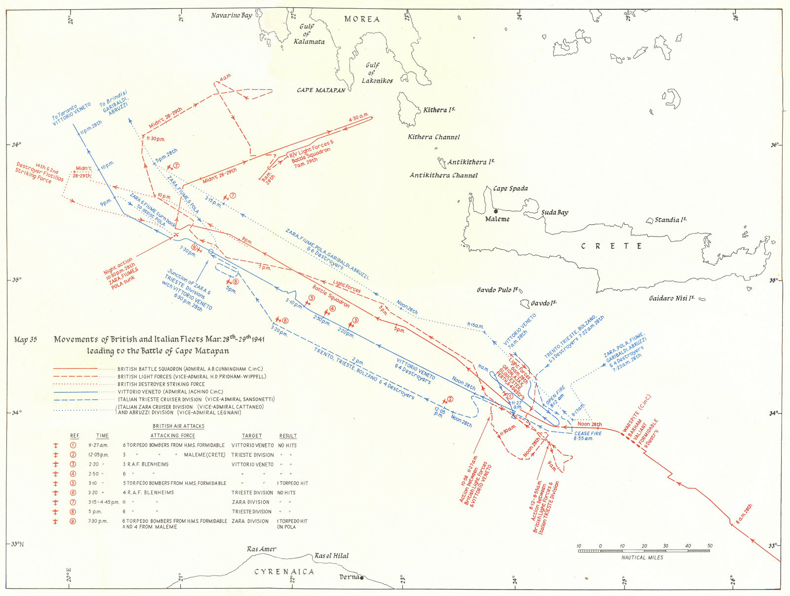 Associate Product GREECE. Track British & Italian Fleets, Mar 1941, Battle Cape Matapan 1954 map