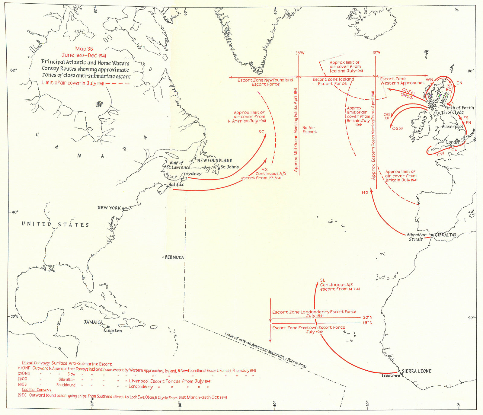 Associate Product ATLANTIC. 1940-41 convoy routes; anti U-Boat escort air cover 1954 old map