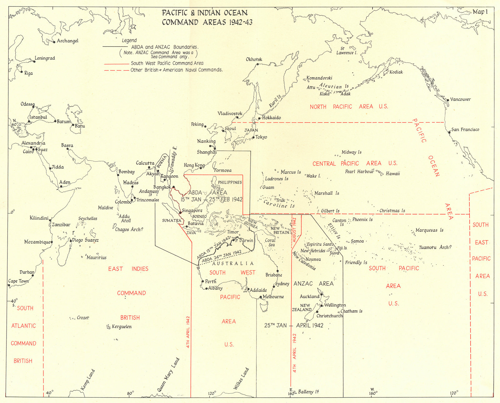Associate Product PACIFIC AND INDIAN OCEAN. Command areas 1942-43 1956 old vintage map chart