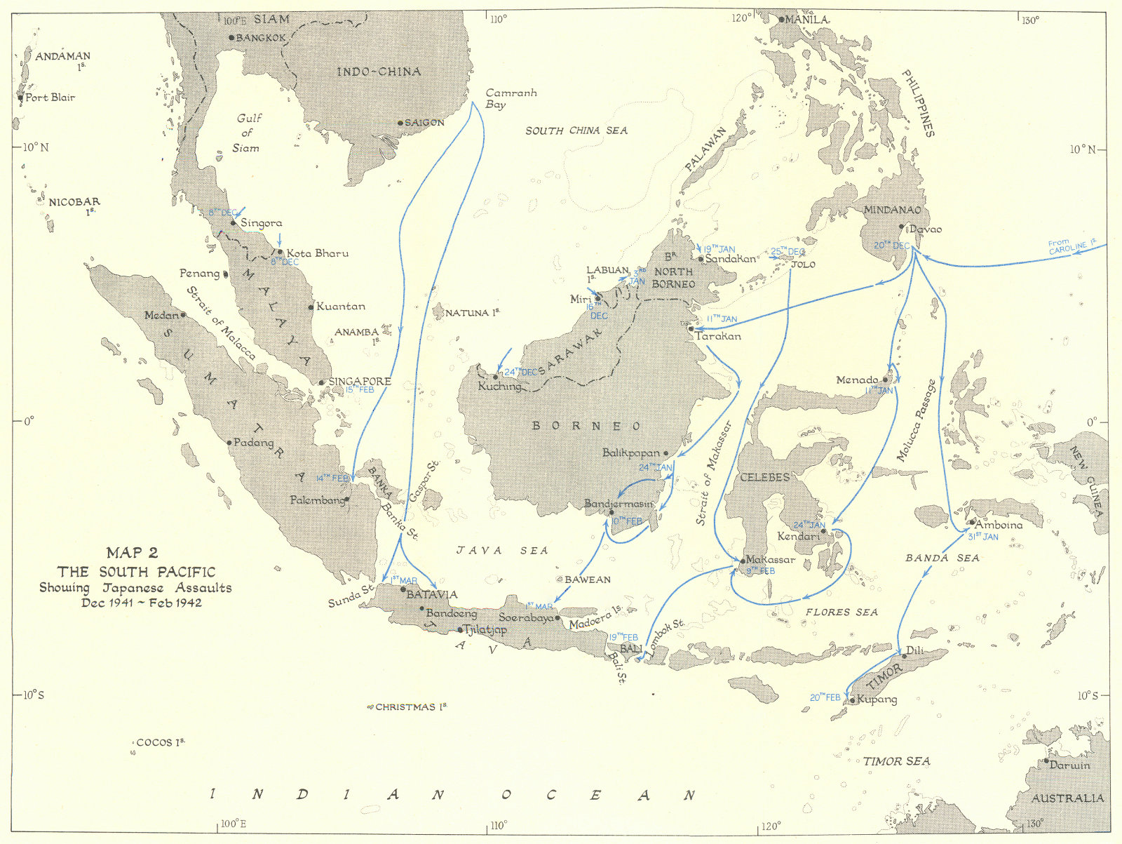 Associate Product INDONESIA. South Pacific showing Japanese assaults Dec 1941-Feb 1942 1956 map