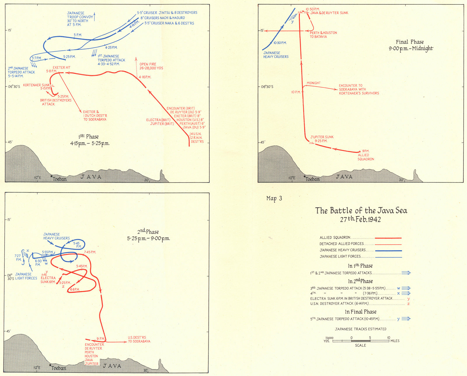 Associate Product INDONESIA. The Battle of the Java Sea 27th Feb 1942 1956 old vintage map chart