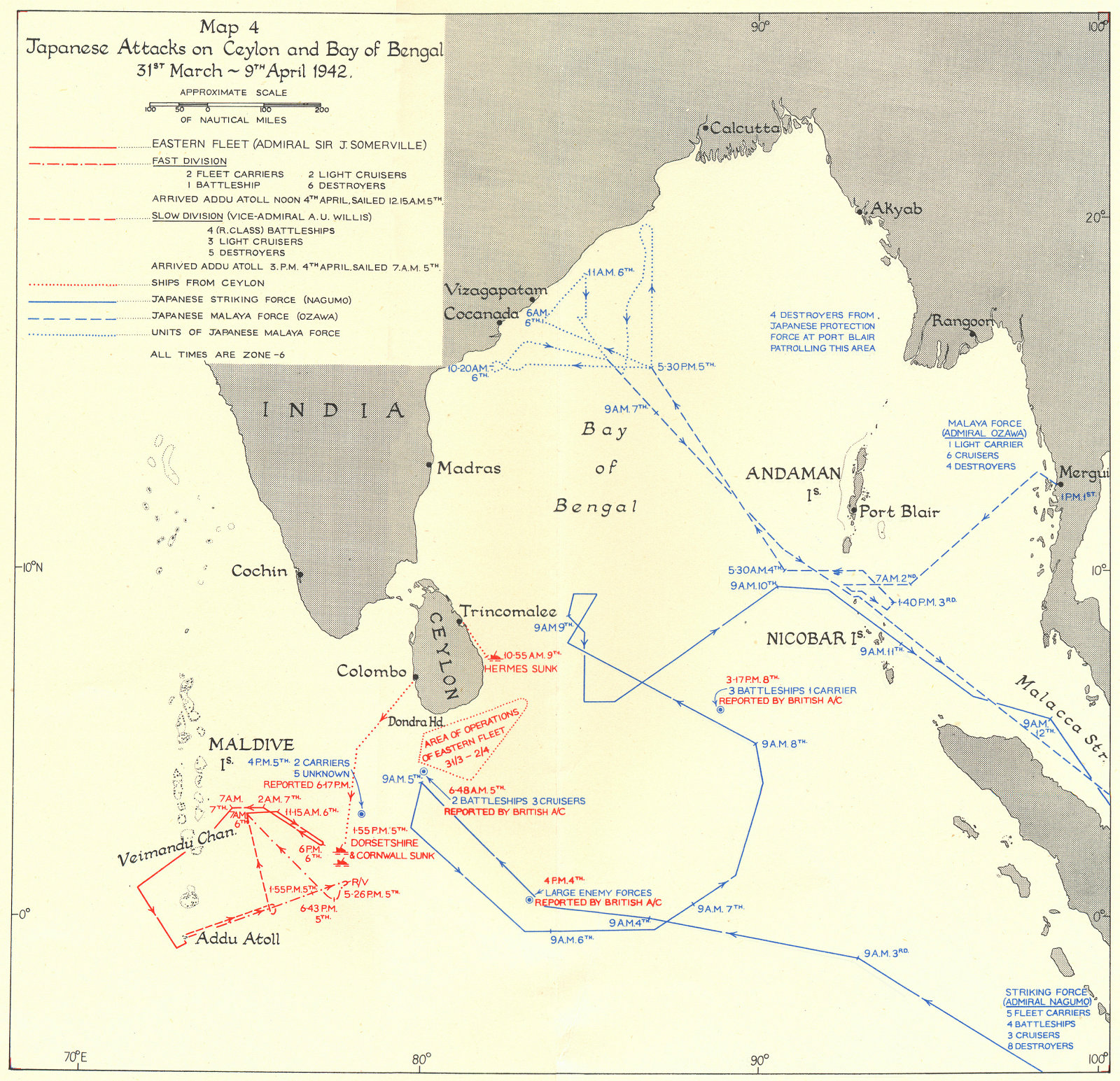 Associate Product SRI LANKA. Japanese attacks, Sri Lanka & Bay of Bengal March-Apr 1942 1956 map