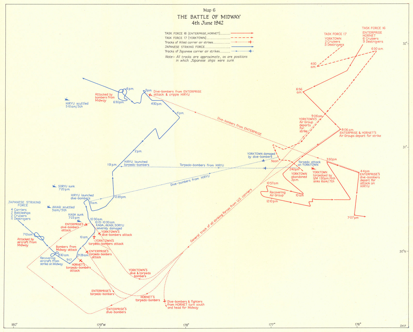 Associate Product PACIFIC OCEAN. Battle of Midway 4th June 1942 1956 old vintage map plan chart