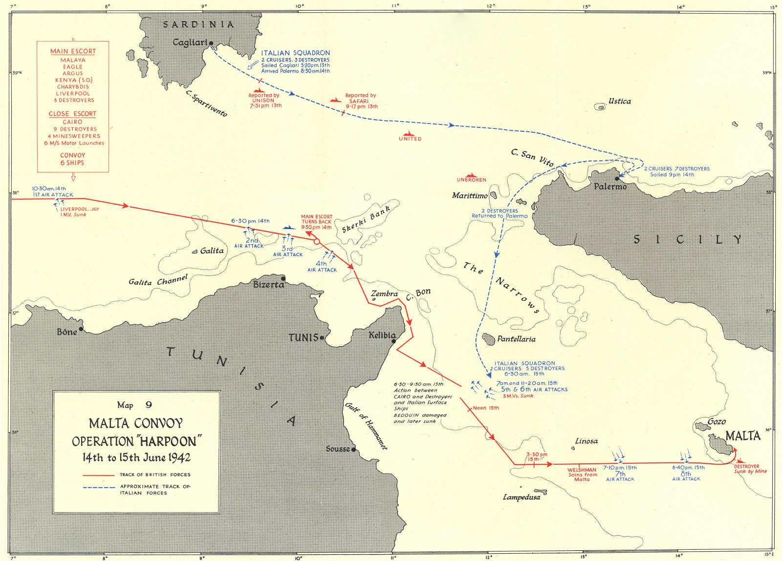 AFRICAN CAMPAIGNS. Malta Convoy operation Harpoon June 1942 1956 old map
