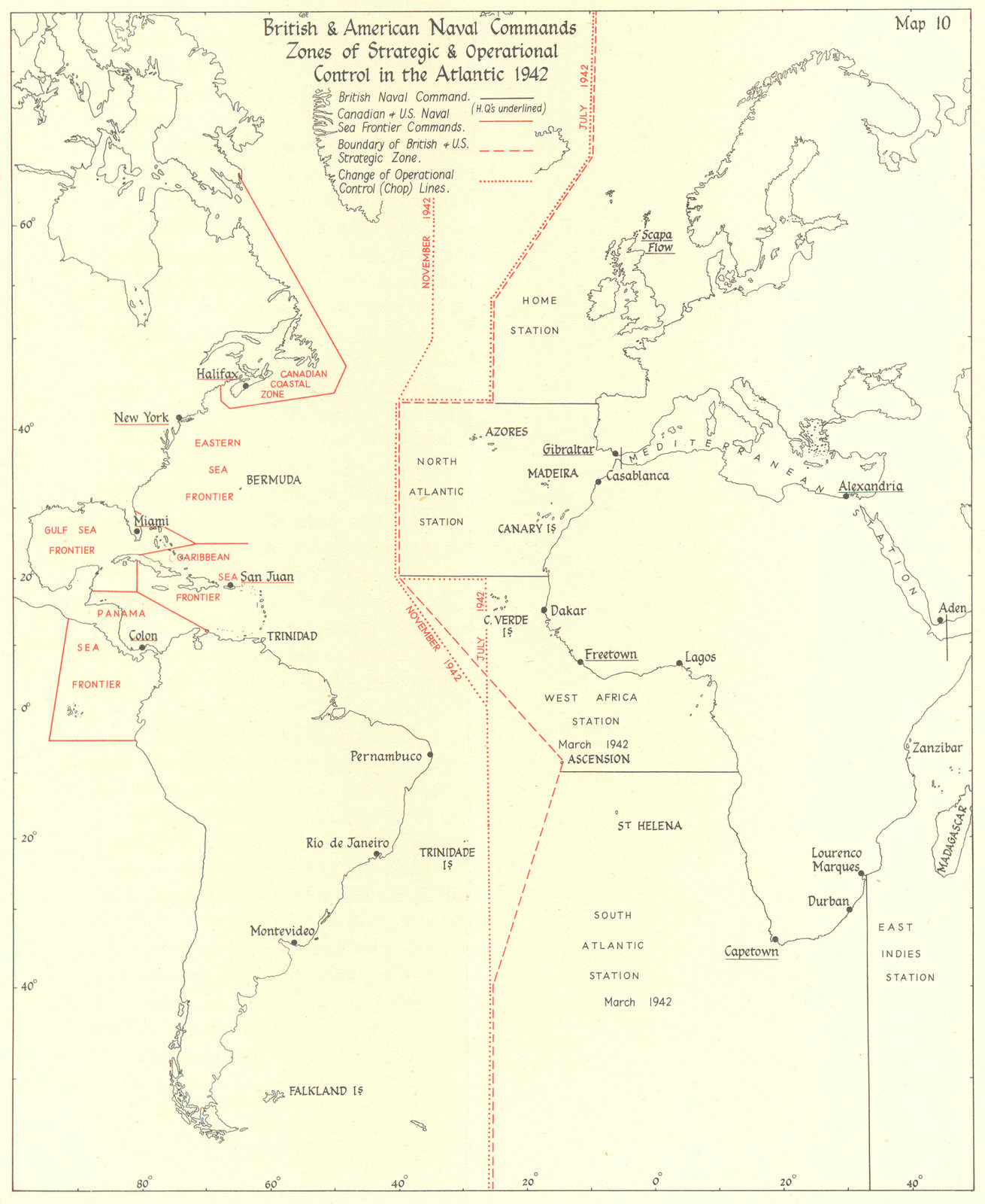 Associate Product BATTLE OF THE ATLANTIC. British US Naval Command Zones 1942 1956 old map