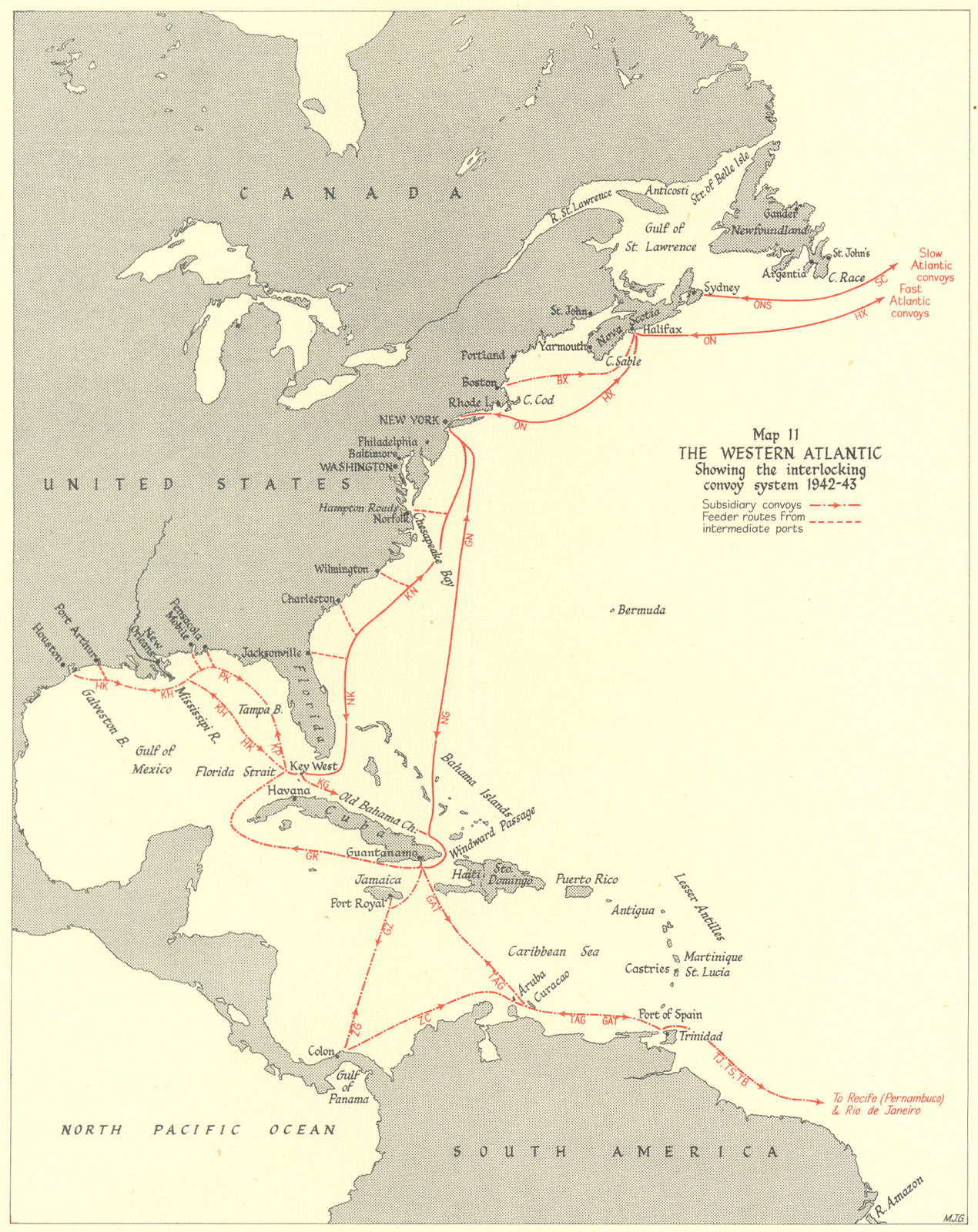 Associate Product BATTLE OF THE ATLANTIC. Western Atlantic. Convoy system 1942-43 1956 old map