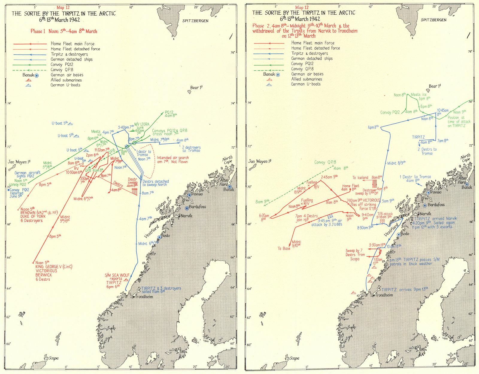 Associate Product ARCTIC. The sortie by the Tirpitz 6th-13th March 1942 1956 old vintage map