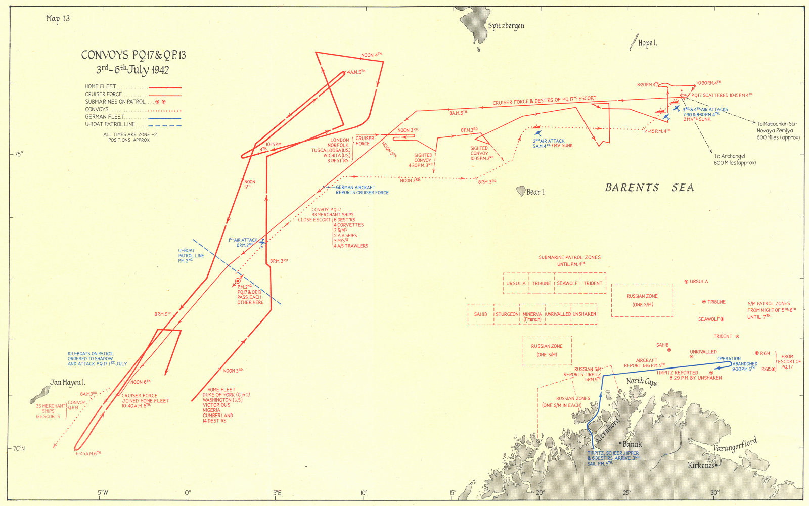 Associate Product ARCTIC. Convoys PQ 17 & QP 13 3rd-6th July 1942 1956 old vintage map chart