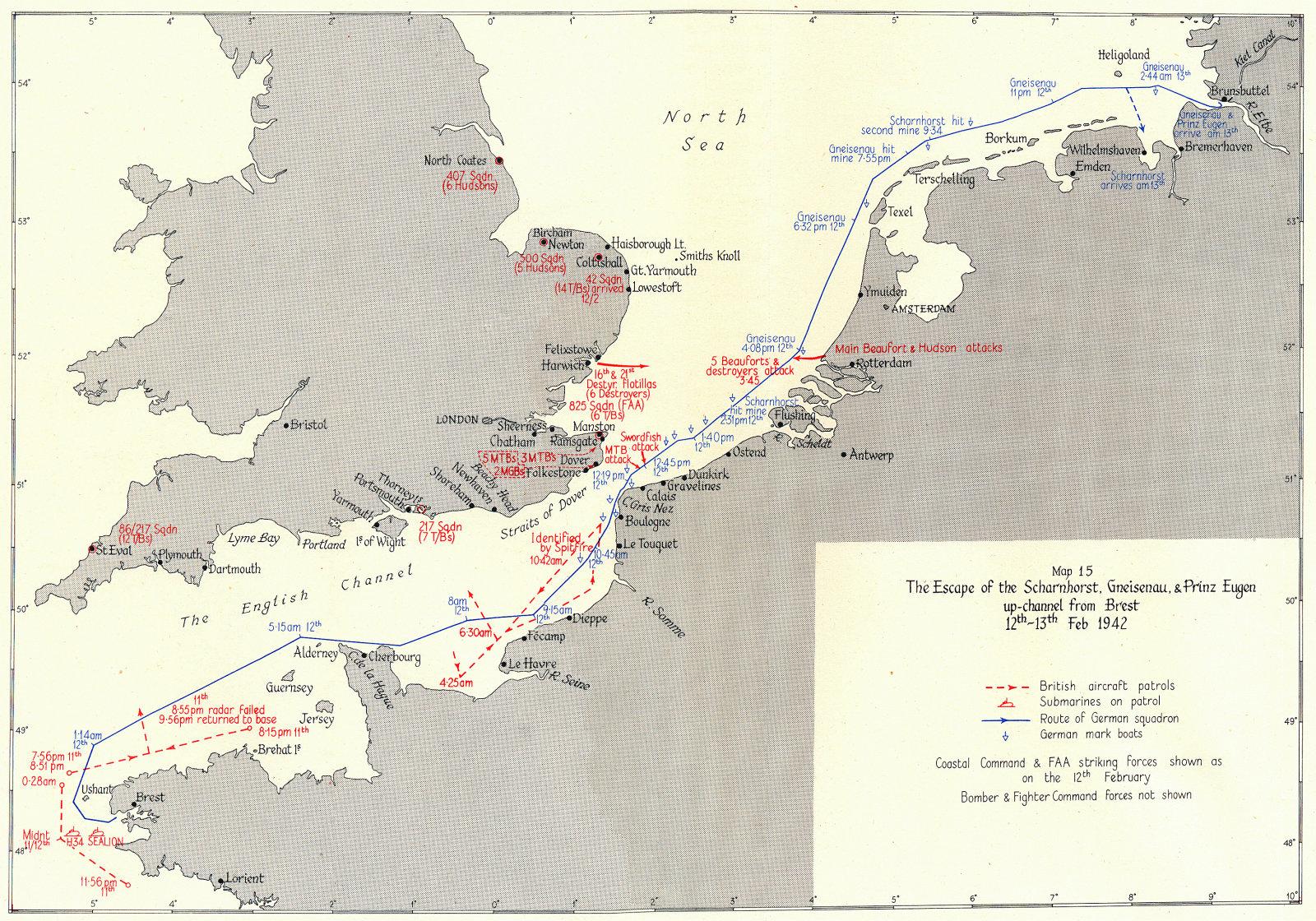 Associate Product FINISTÈRE. Escape Scharnhorst, Gneisenau & Prinz Eugen; Brest Feb 1942 1956 map
