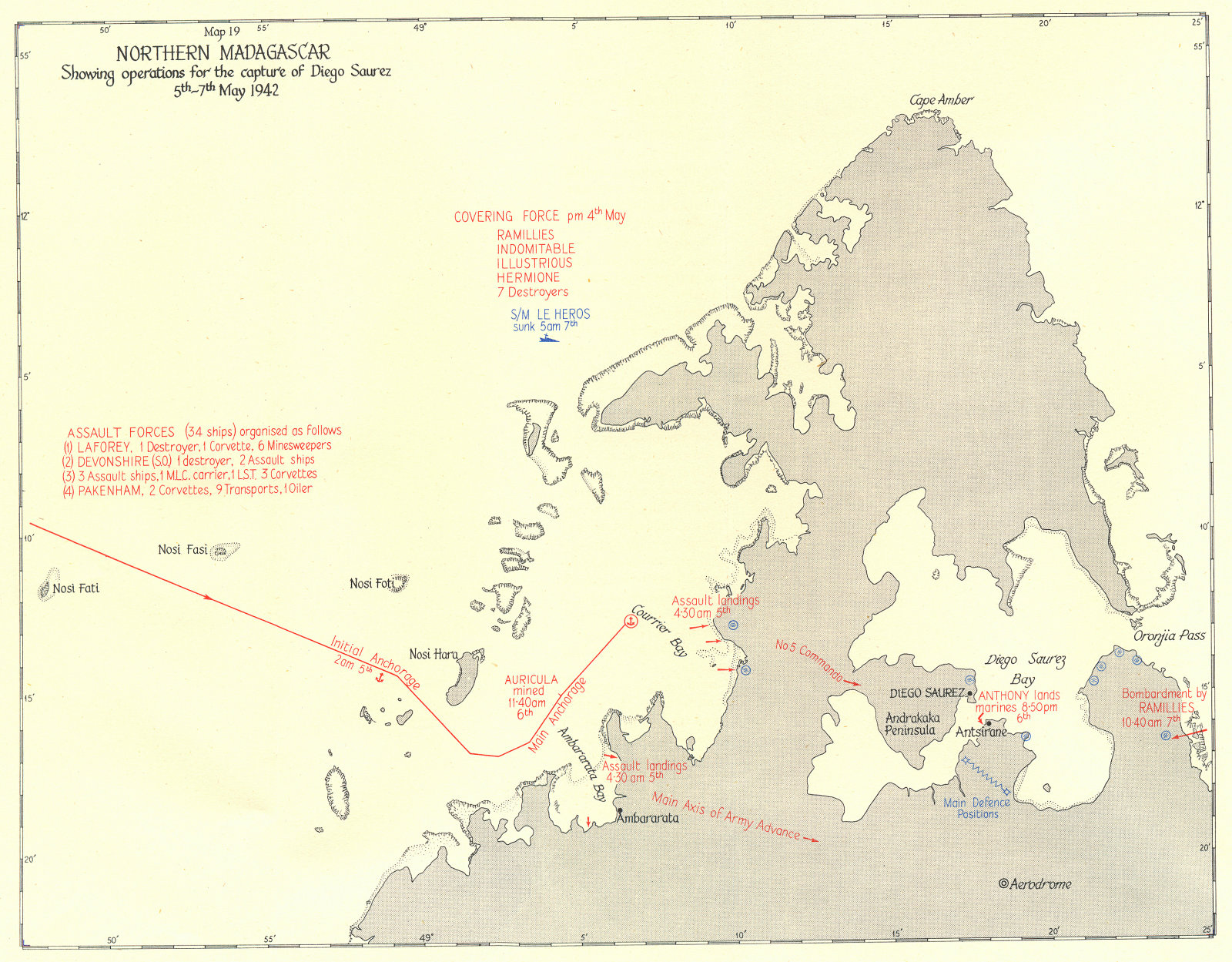 Associate Product MADAGASCAR. Operations for capture of Diego Saurez May 1942 1956 old map
