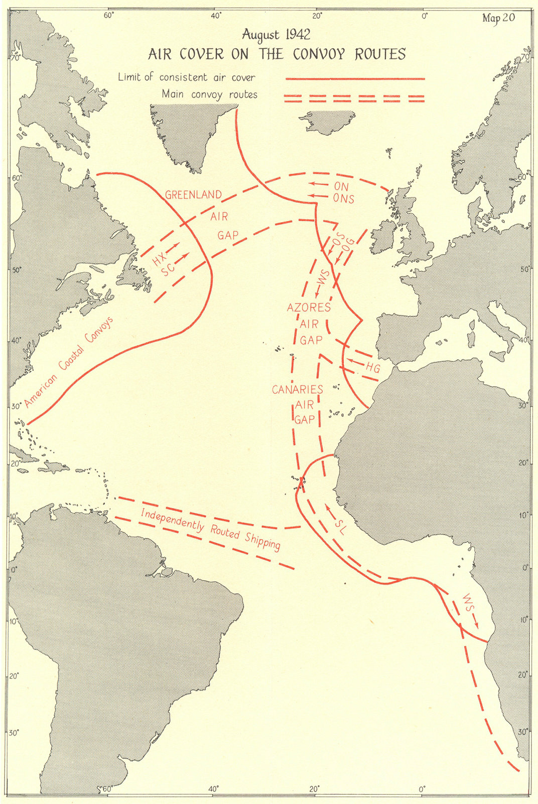 Associate Product BATTLE OF THE ATLANTIC. 2nd campaign. Aug 1942 Air cover convoy routes 1956 map