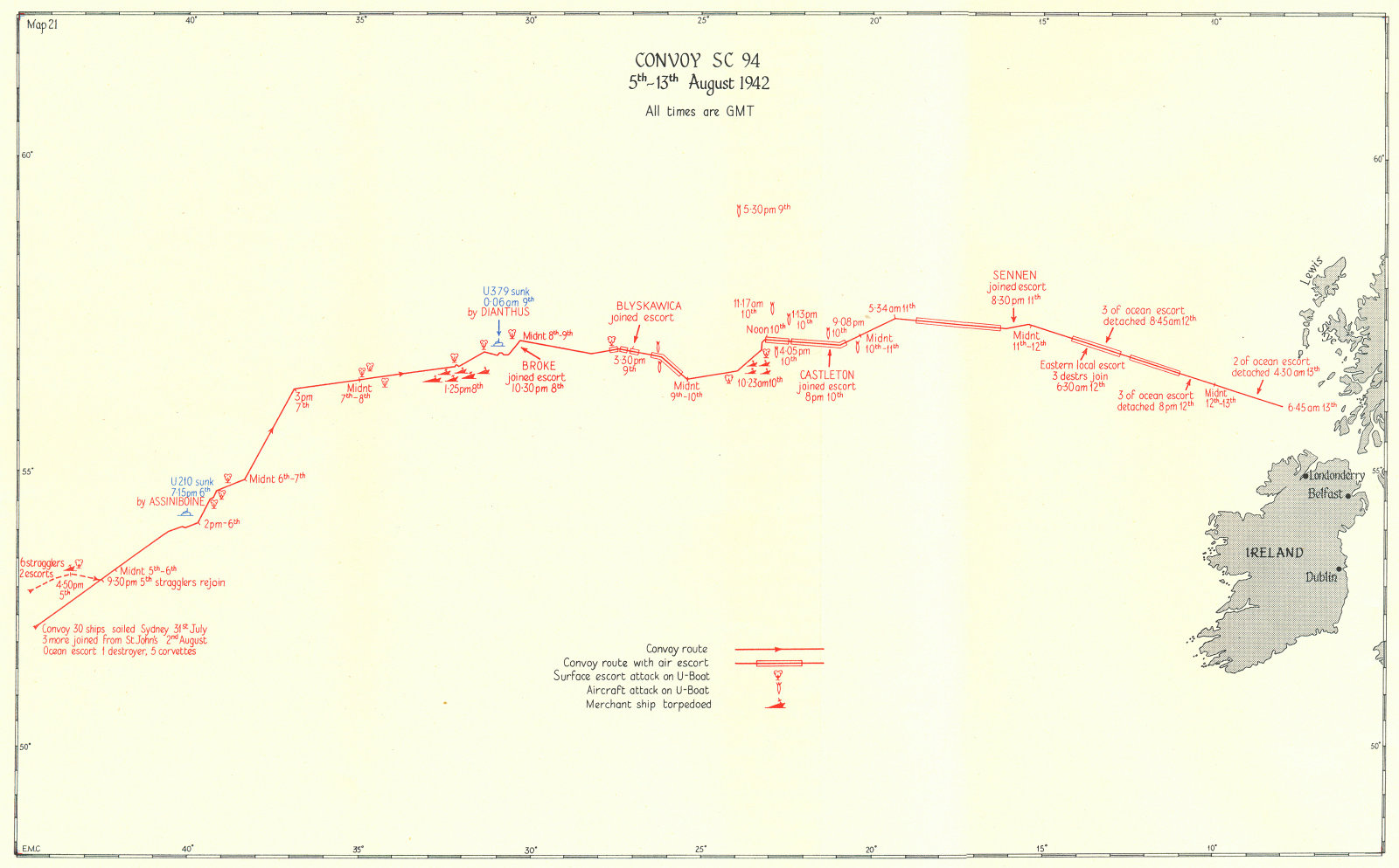 Associate Product BATTLE OF THE ATLANTIC. 2nd campaign, convoy routes. SC 94 Aug 1942 1956 map