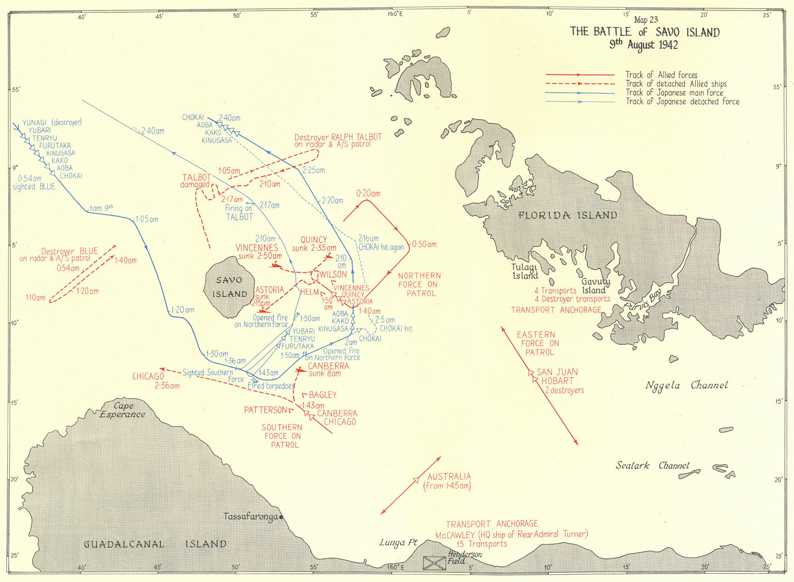 Associate Product PACIFIC OCEAN. The Battle of Savo Island 9th August 1942 1956 old vintage map