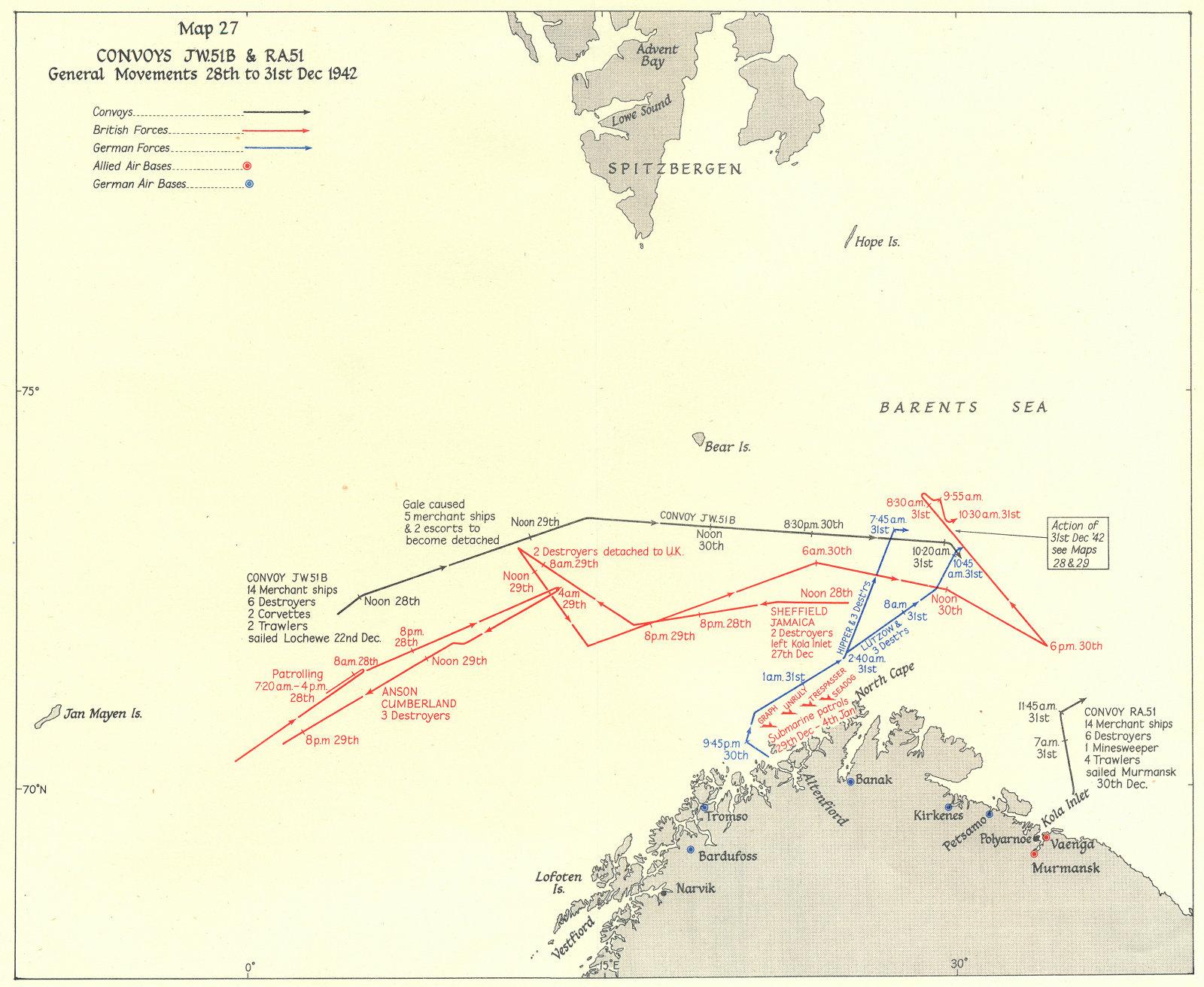Associate Product ARCTIC. Convoys JW 51B & RA51 General Movements 28th to 31st Dec 1942 1956 map