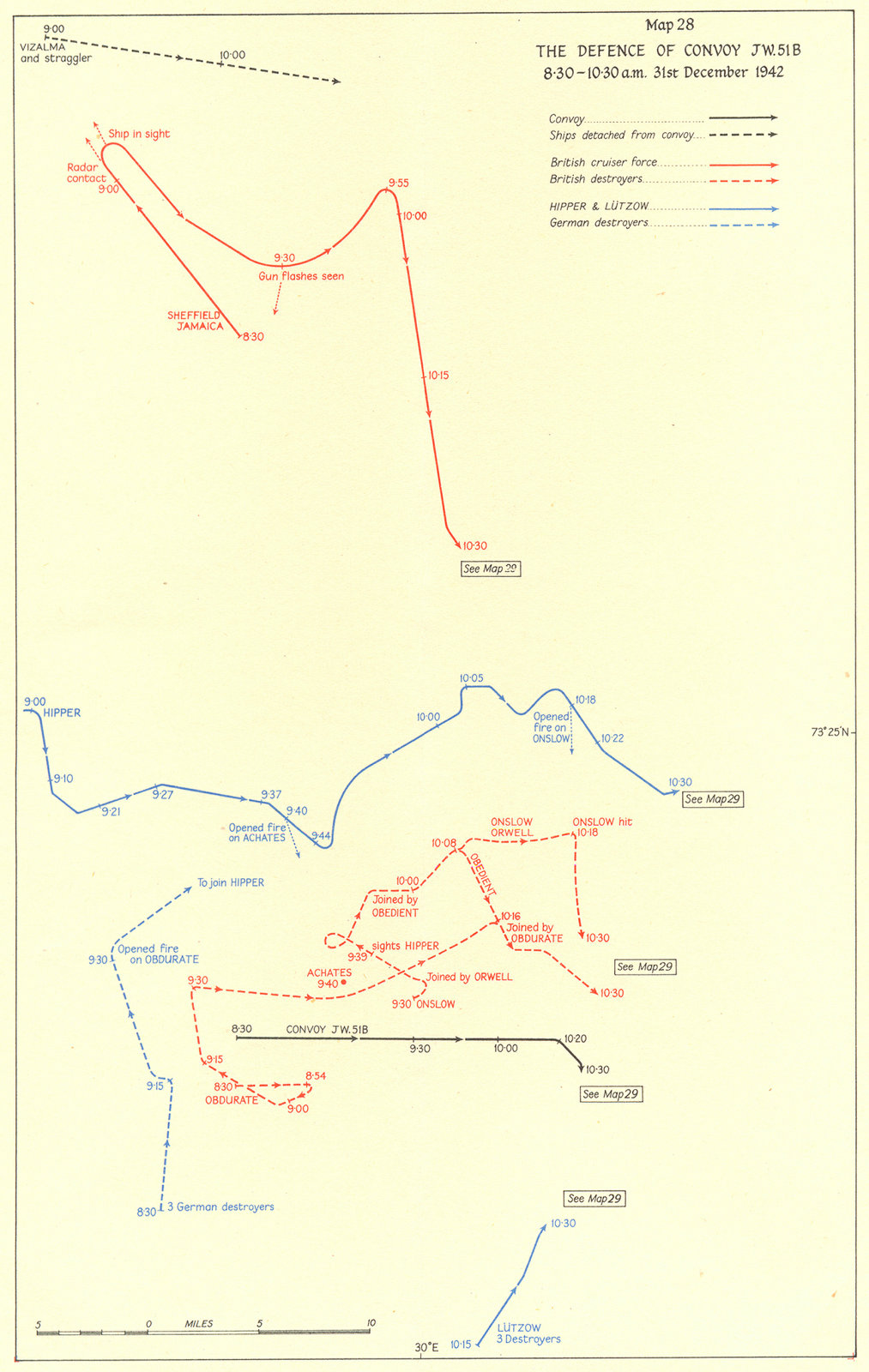 Associate Product ARCTIC. Defence of Convoy JW 51B 8. 30-10. 30am 31st Dec 1942 1956 old map