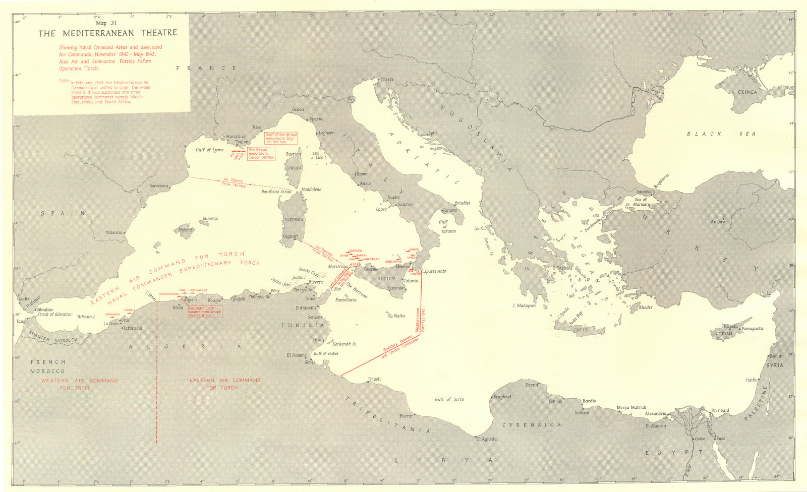 Associate Product EUROPE. African Campaigns Aug-Dec, 1942. Mediterranean Theatre 1956 old map