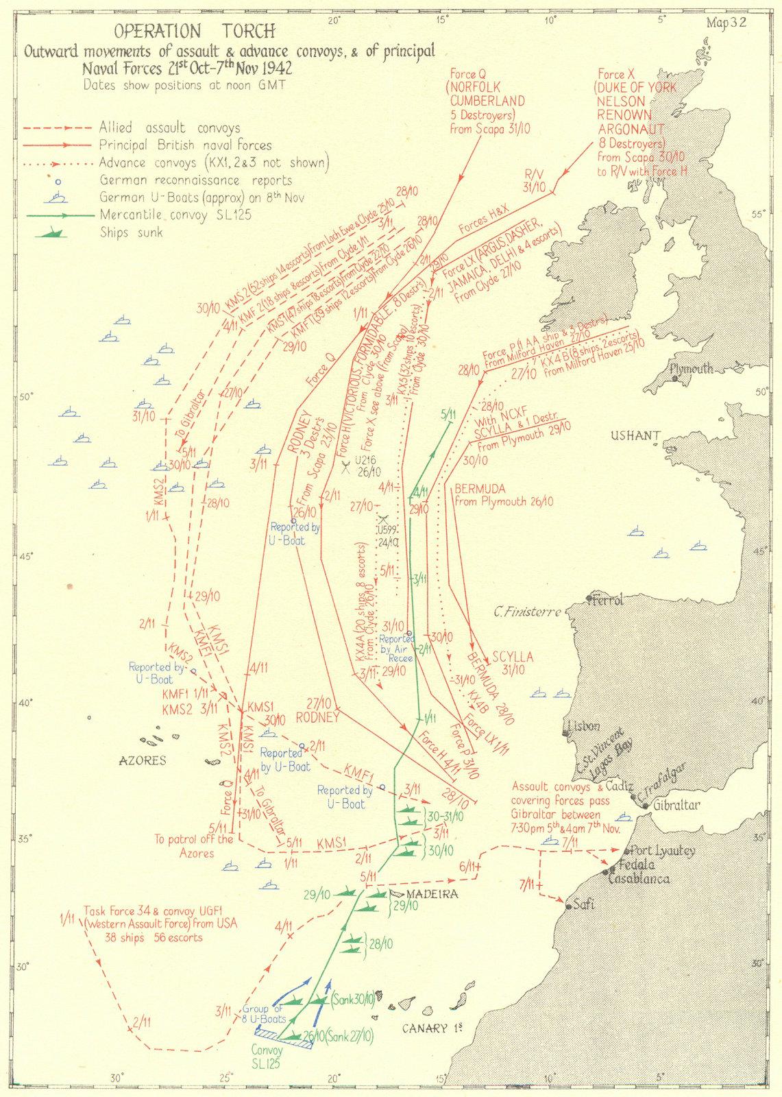 Associate Product ALGERIA. Operation Torch. Assault & convoys; Naval Forces Oct-Nov 1942 1956 map
