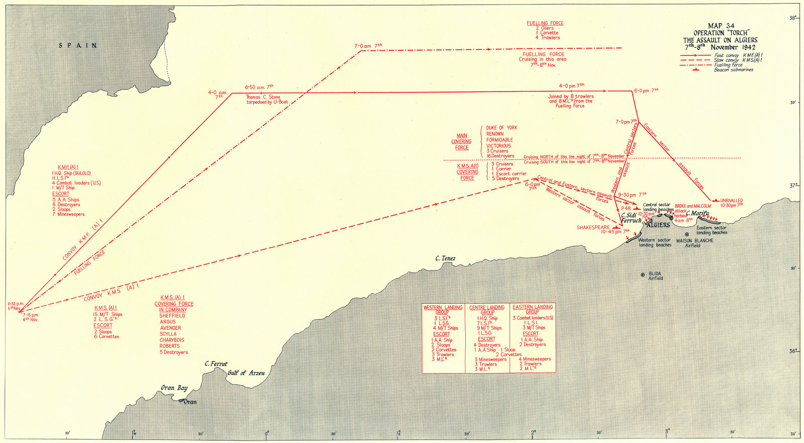 Associate Product ALGERIA. Operation Torch assault, Algiers 7th-8th Nov 1942 1956 old map