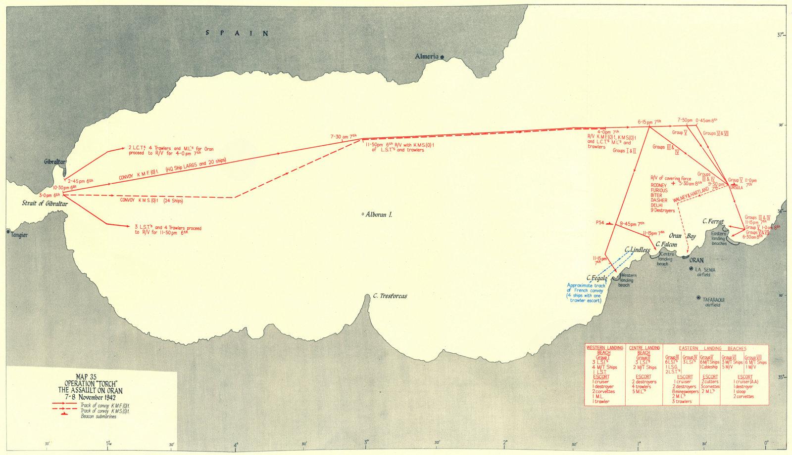 Associate Product ALGERIA. Operation Torch assault, Oran 7-8 Nov 1942 1956 old vintage map chart