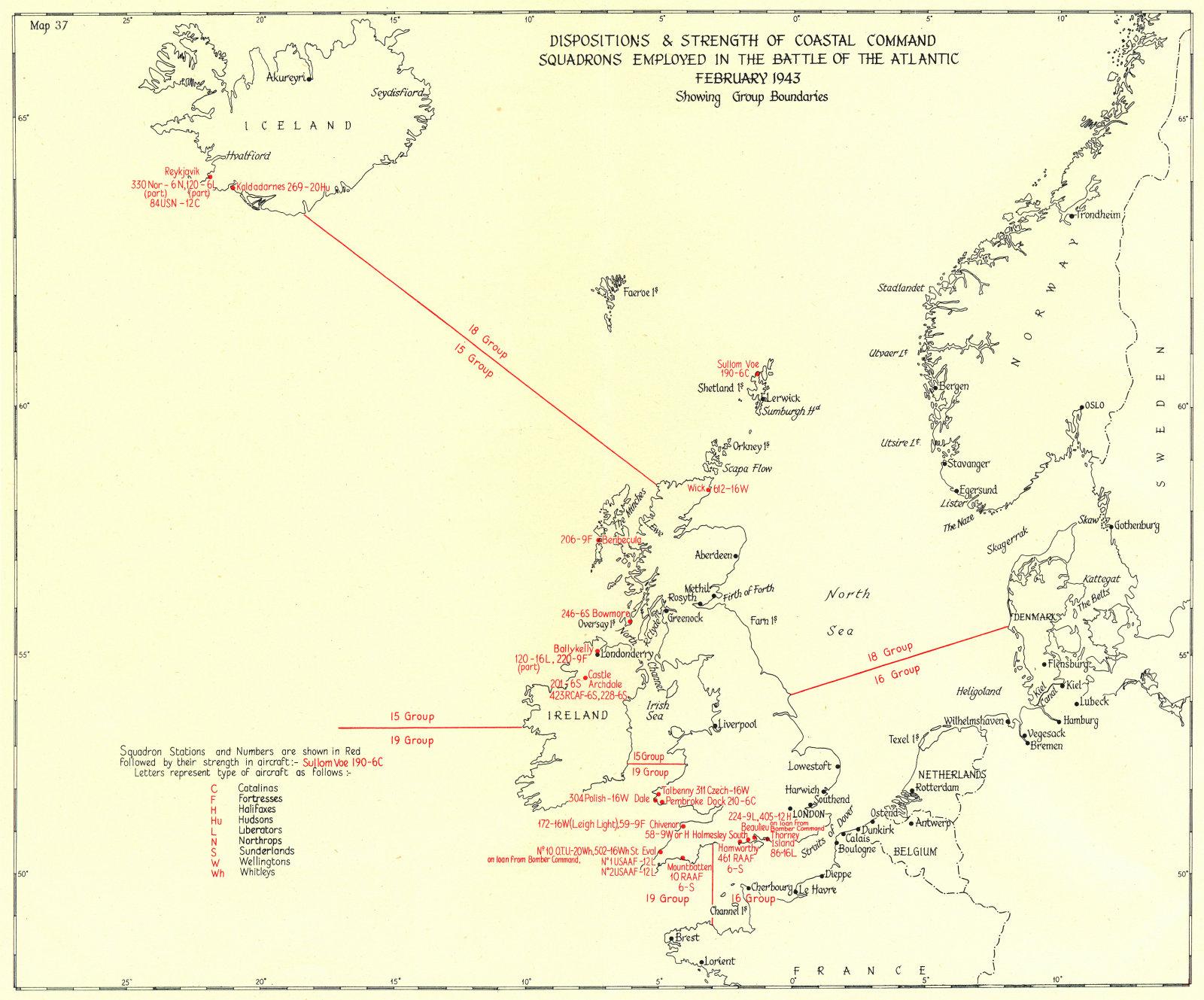 Associate Product BATTLE OF THE ATLANTIC. Coastal command squadrons Feb 1943 boundaries 1956 map