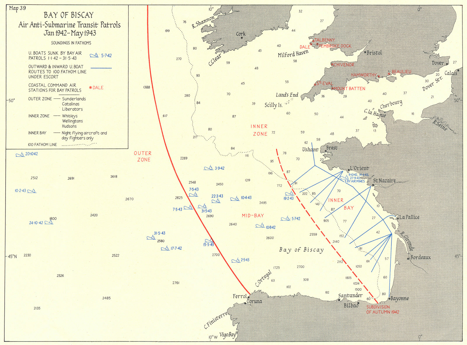 BAY OF BISCAY. Air Anti-Submarine Patrols 1942-43 1956 old vintage map chart