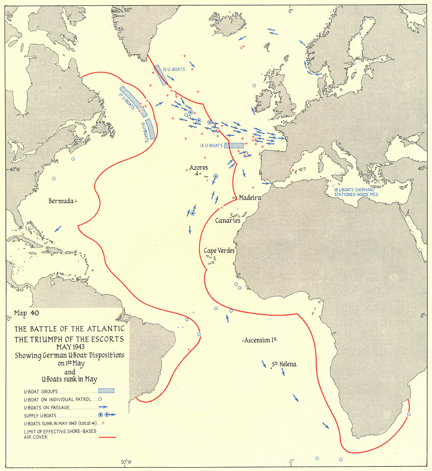 Associate Product BATTLE OF THE ATLANTIC. German U-Boat positions 1st May & sunk in 1943 1956 map