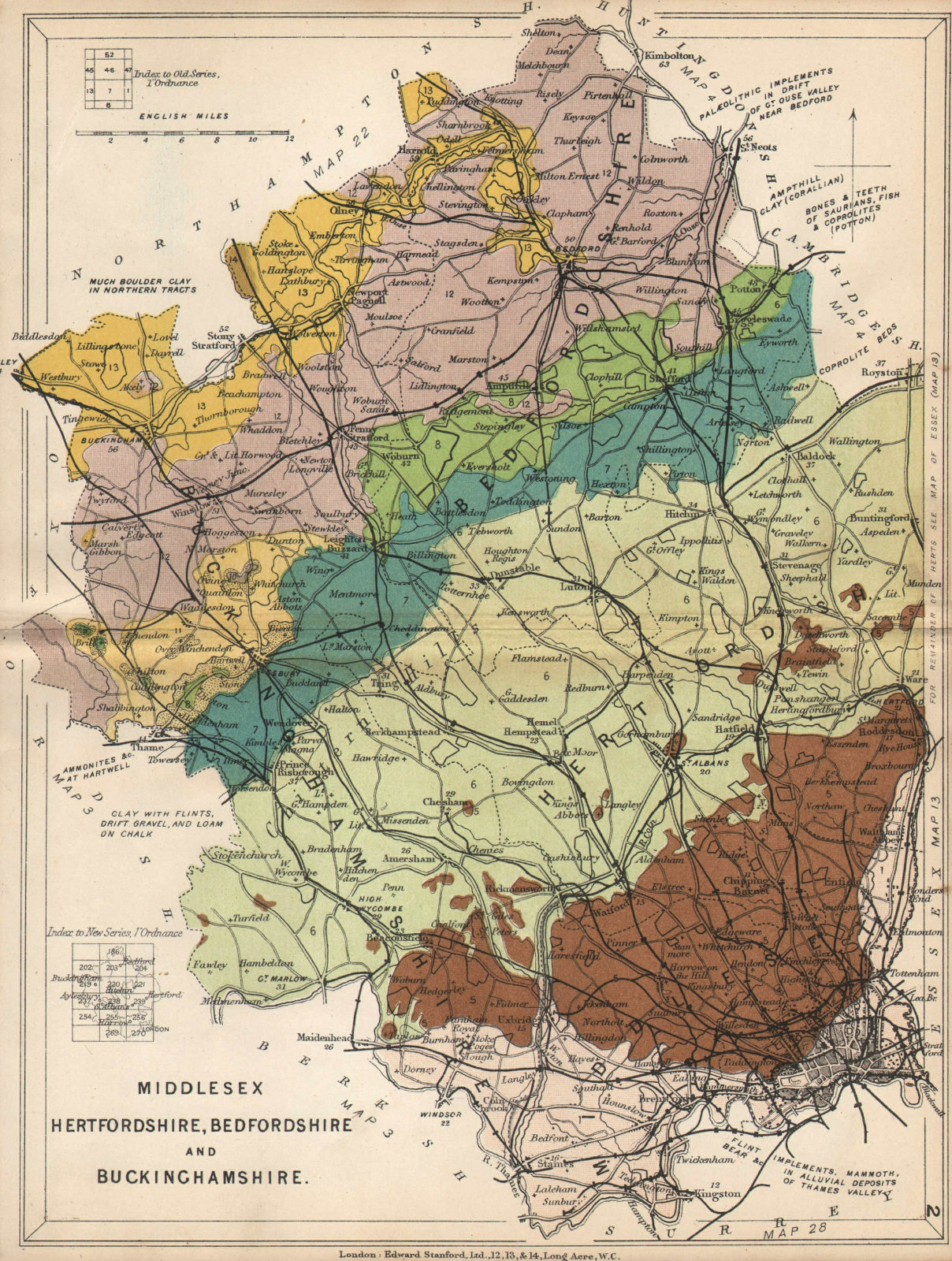 Associate Product MIDDLESEX HERTFORDSHIRE BEDFORDSHIRE & BUCKS Geological. STANFORD 1913 old map