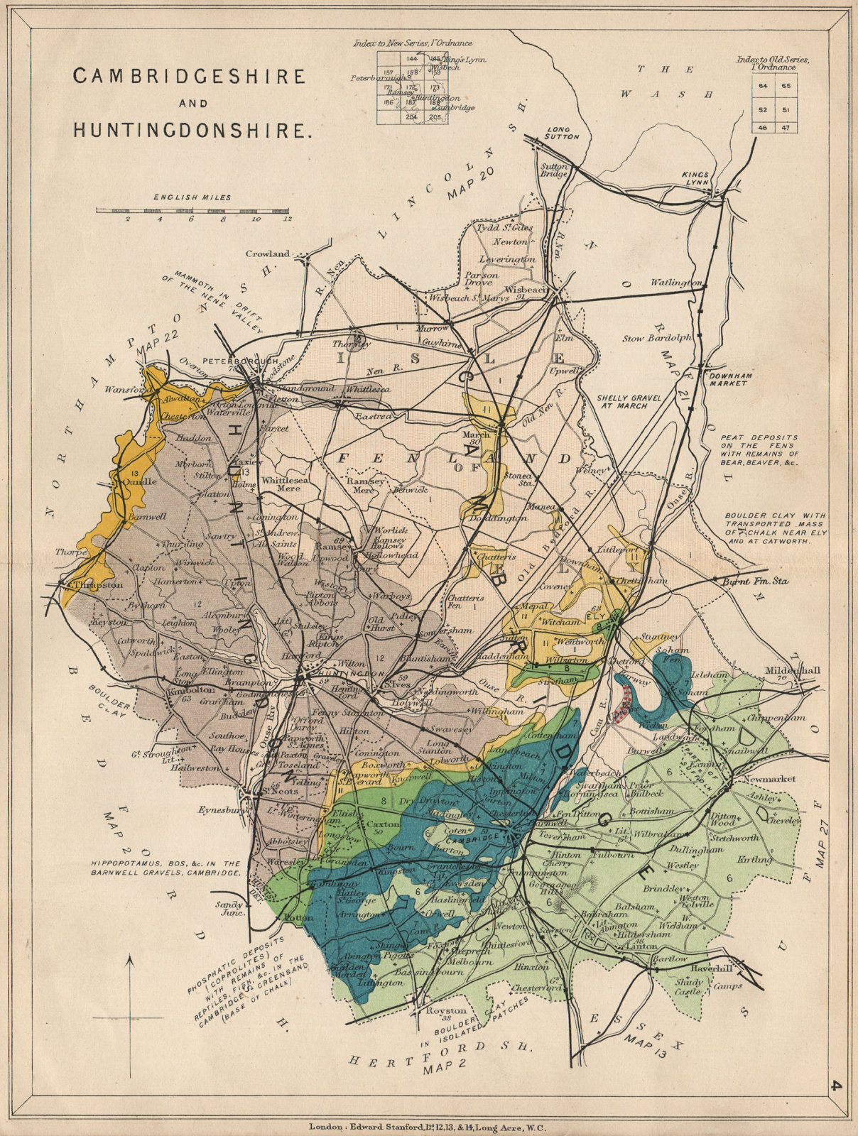 Associate Product CAMBRIDGESHIRE AND HUNTINGDONSHIRE Geological map. STANFORD 1913 old