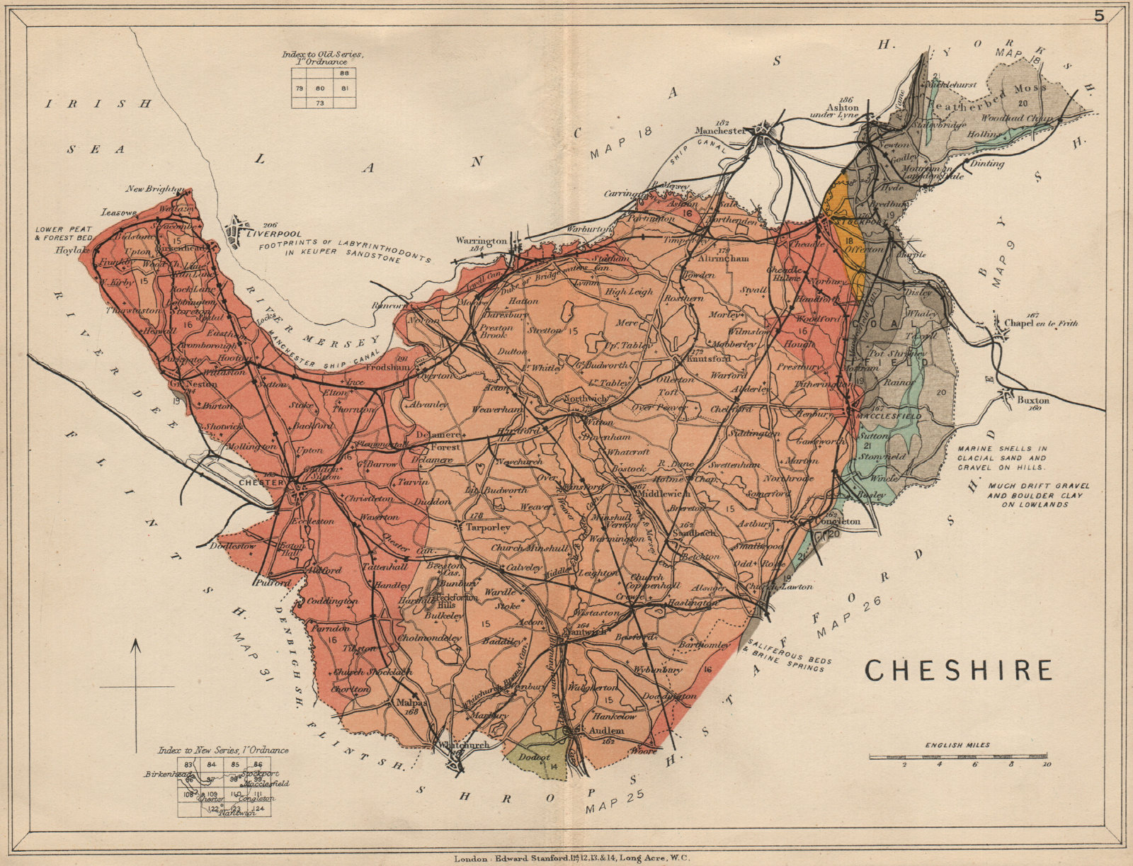 Associate Product CHESHIRE Geological map. STANFORD 1913 old antique vintage plan chart