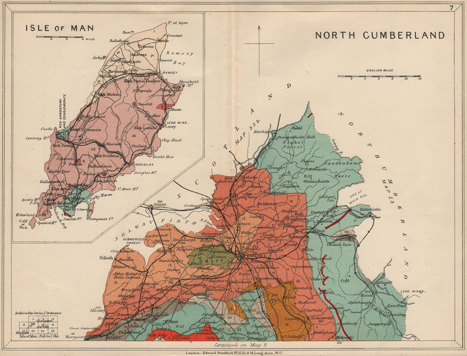 Associate Product CUMBRIA North Cumberland; Inset Isle of Man. Geological map. STANFORD 1913