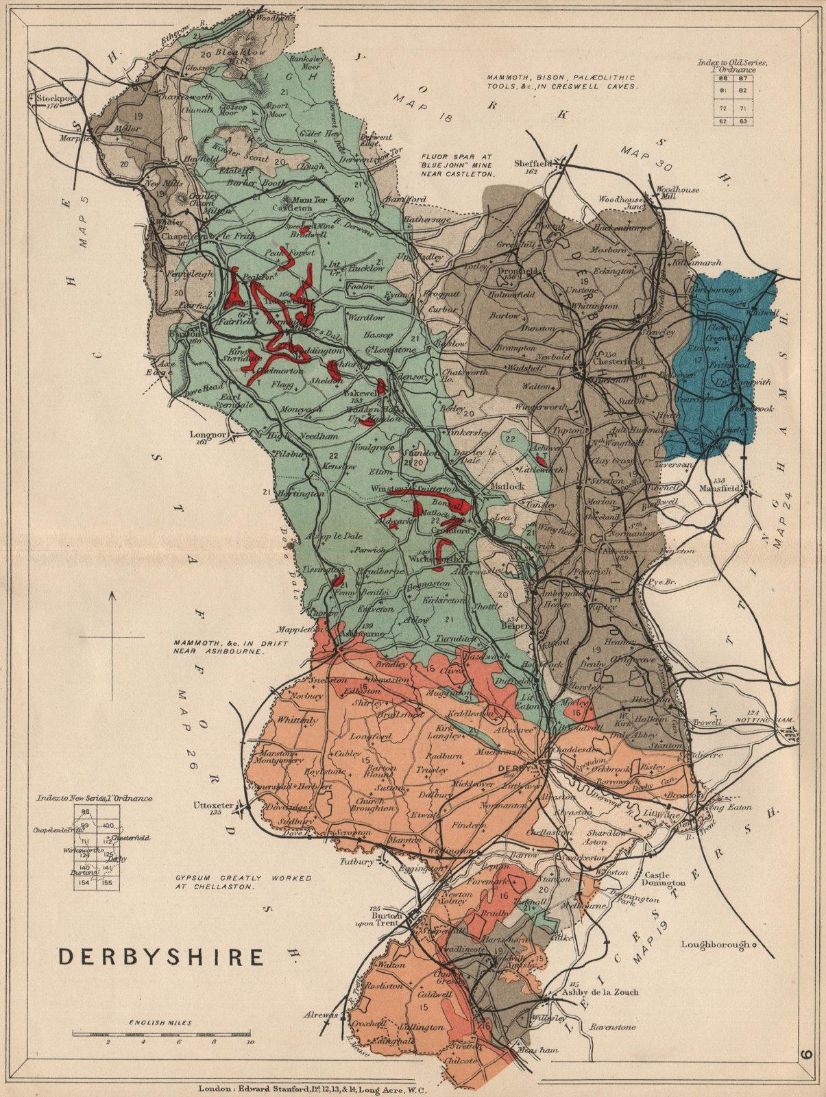 Associate Product DERBYSHIRE Geological map. STANFORD 1913 old antique vintage plan chart