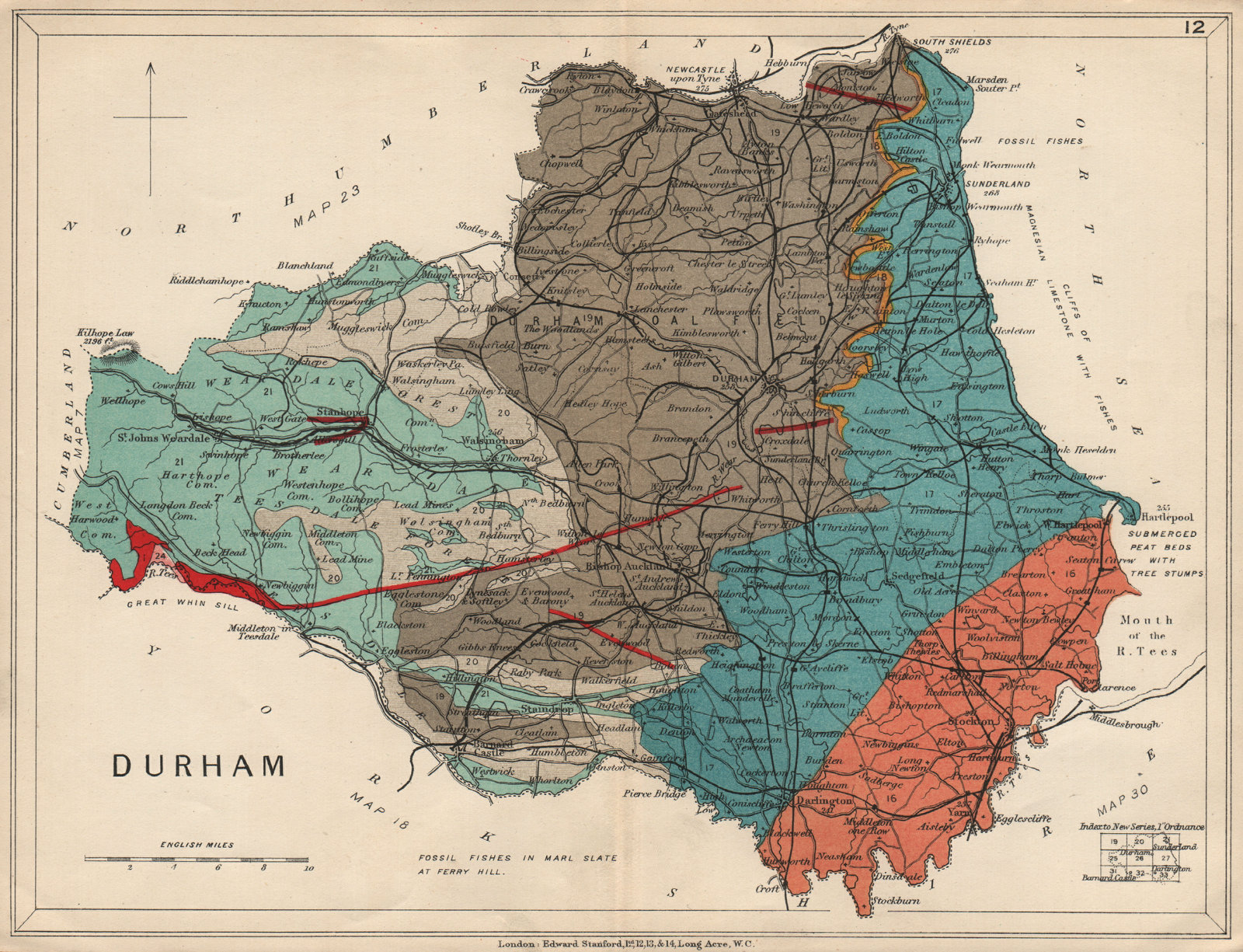 Associate Product COUNTY DURHAM Geological map. STANFORD 1913 old antique vintage plan chart