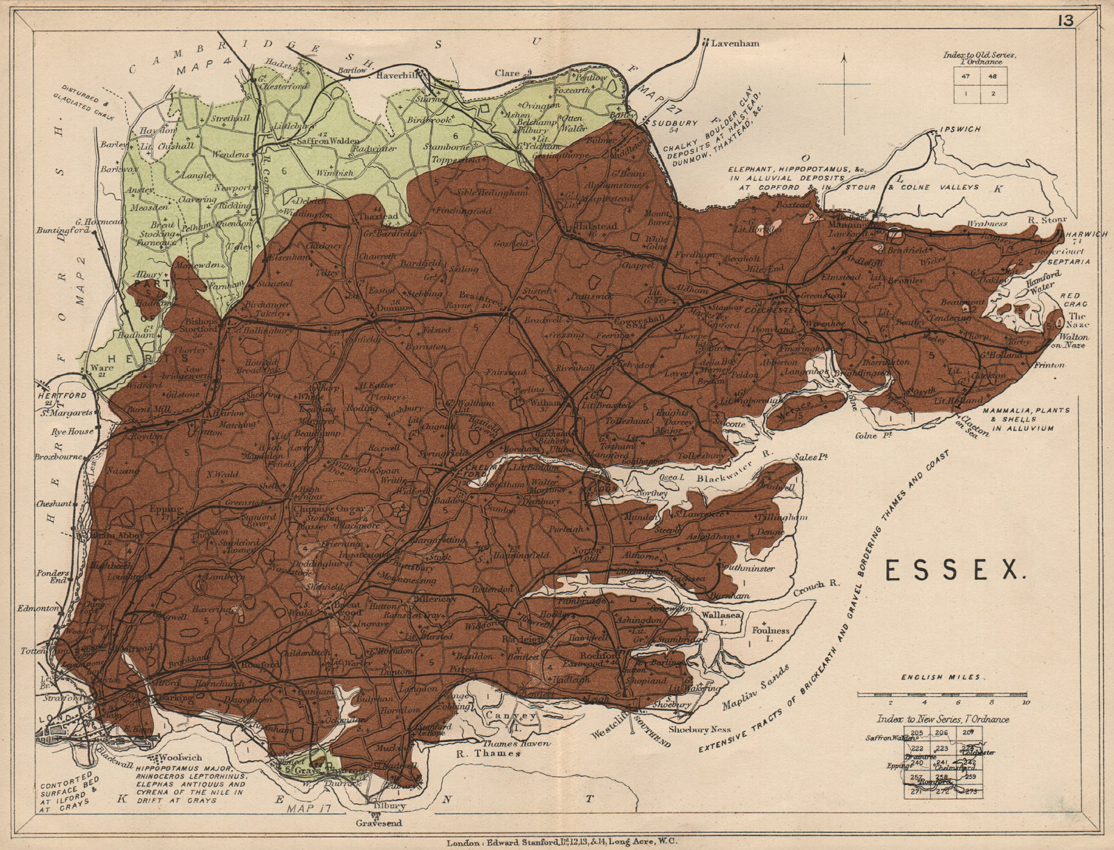 Associate Product ESSEX Geological map. STANFORD 1913 old antique vintage plan chart