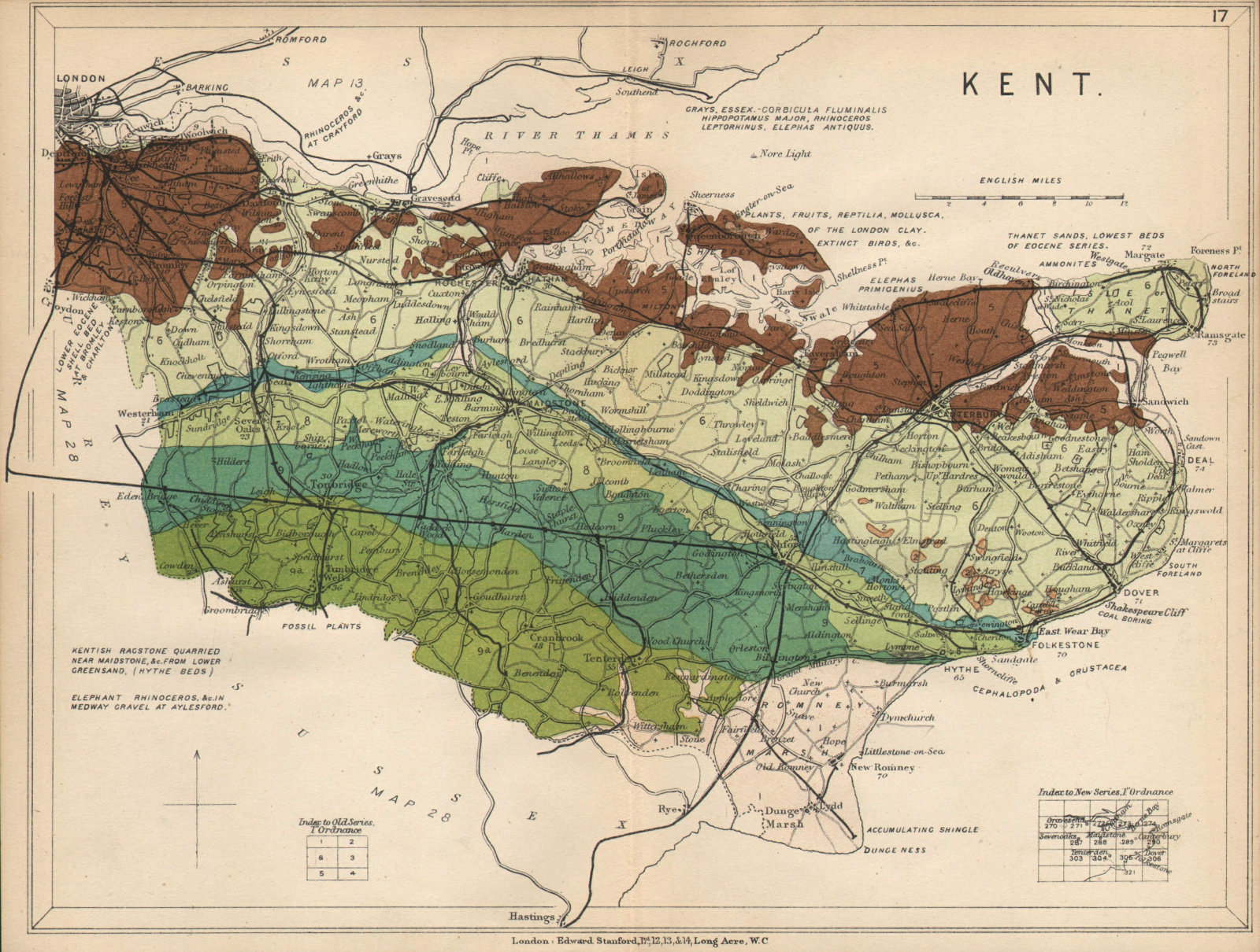 Associate Product KENT Geological map. STANFORD 1913 old antique vintage plan chart
