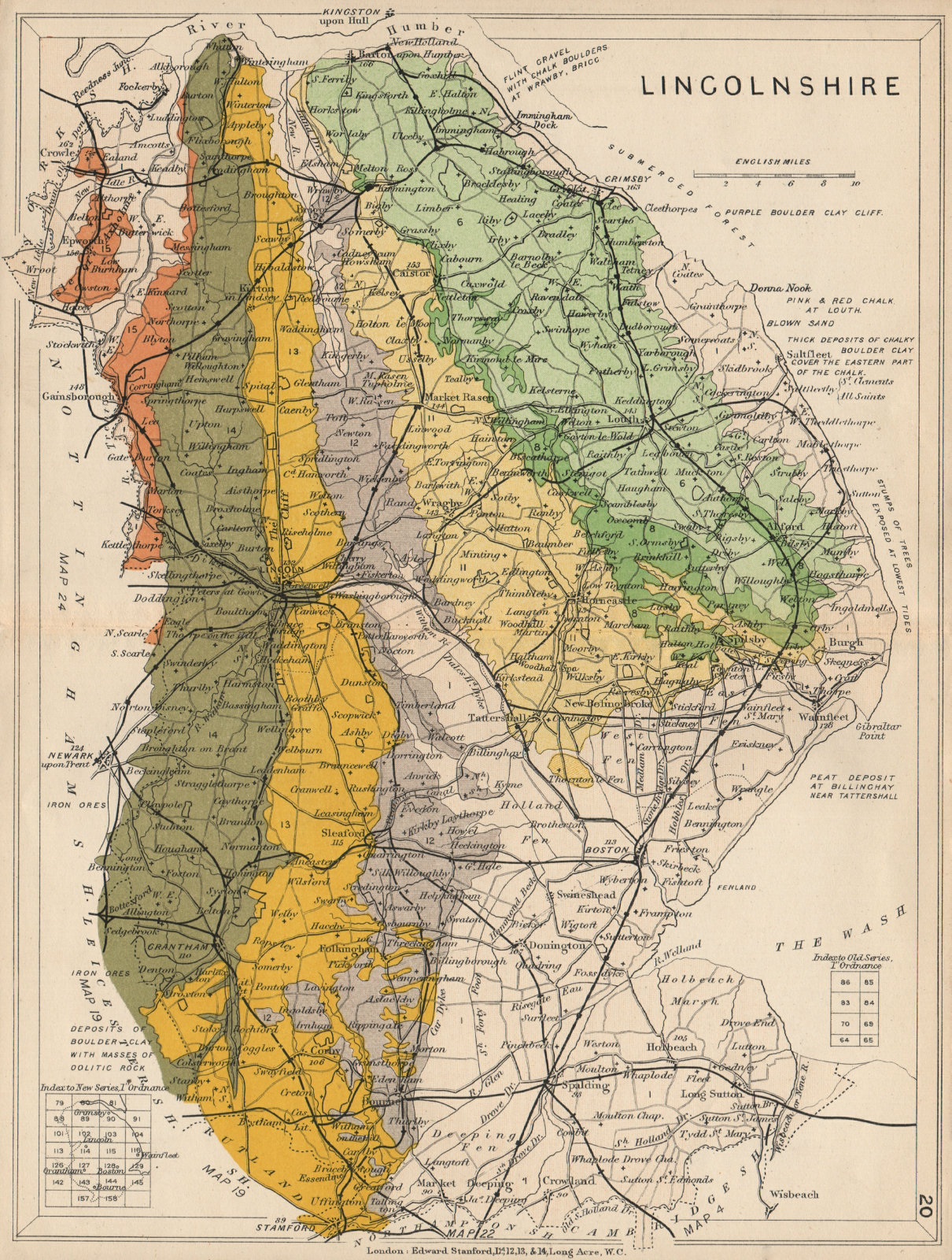 Associate Product LINCOLNSHIRE Geological map. STANFORD 1913 old antique vintage plan chart