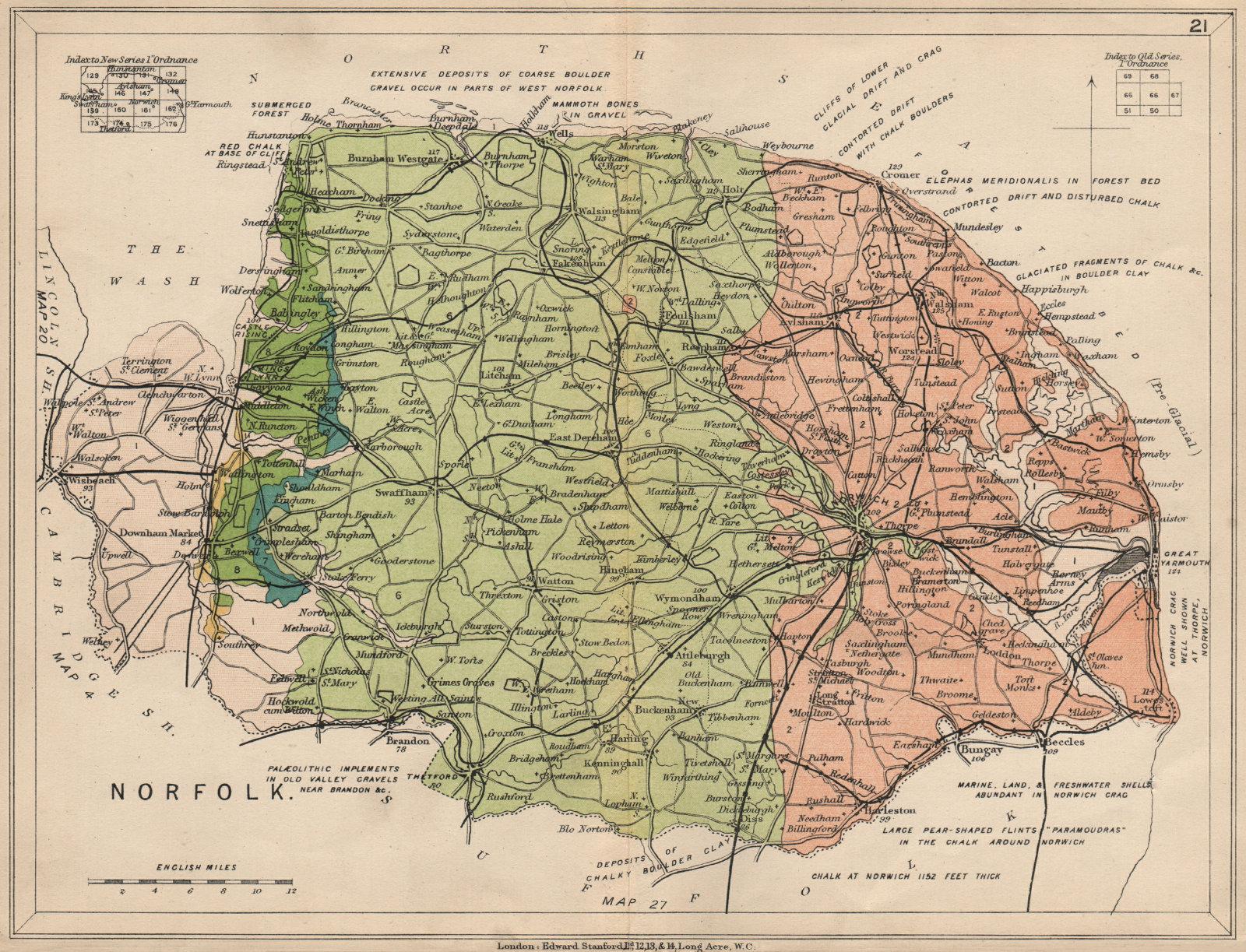 Associate Product NORFOLK Geological map. STANFORD 1913 old antique vintage plan chart