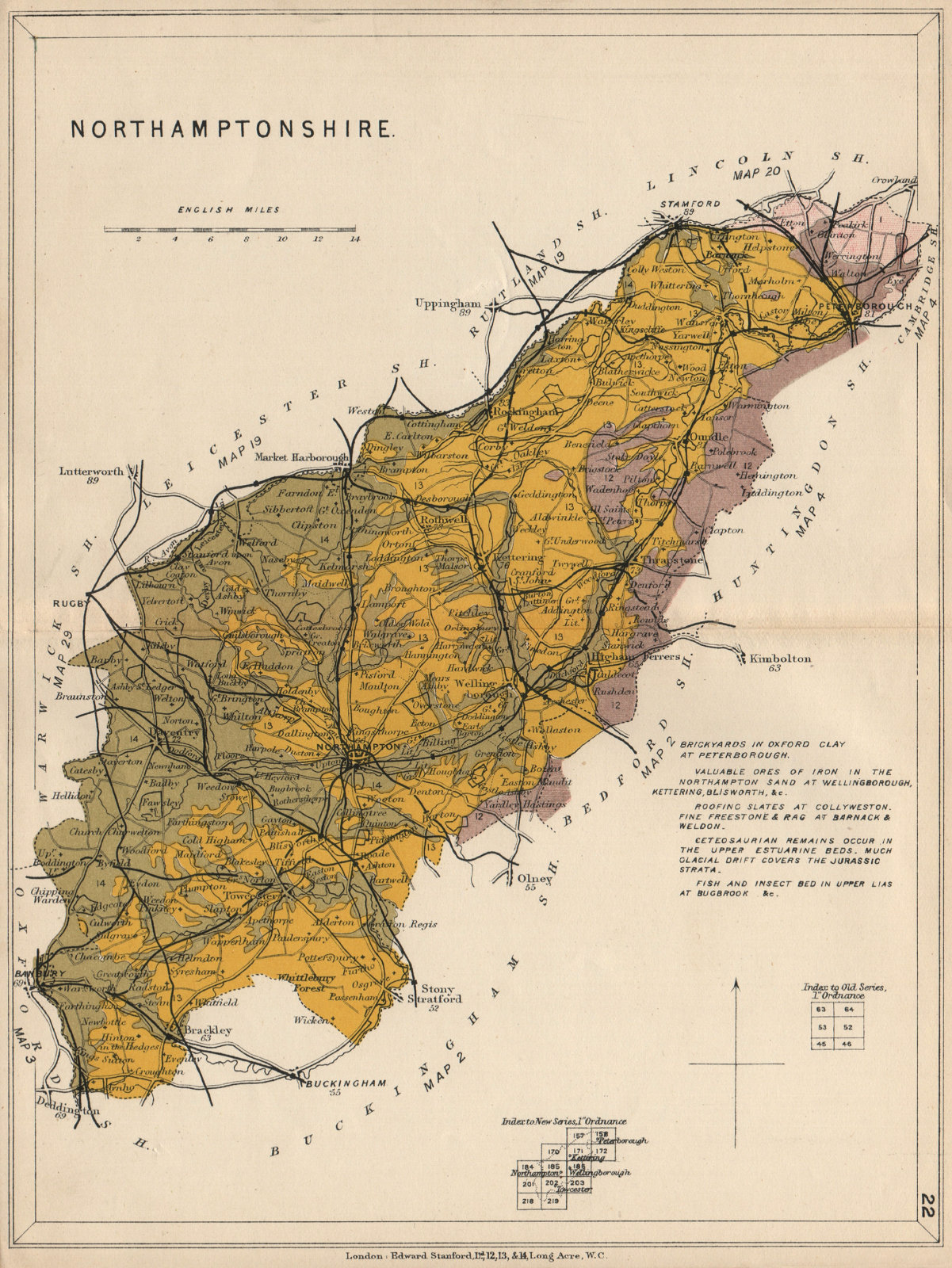 Associate Product NORTHAMPTONSHIRE Geological map. STANFORD 1913 old antique plan chart